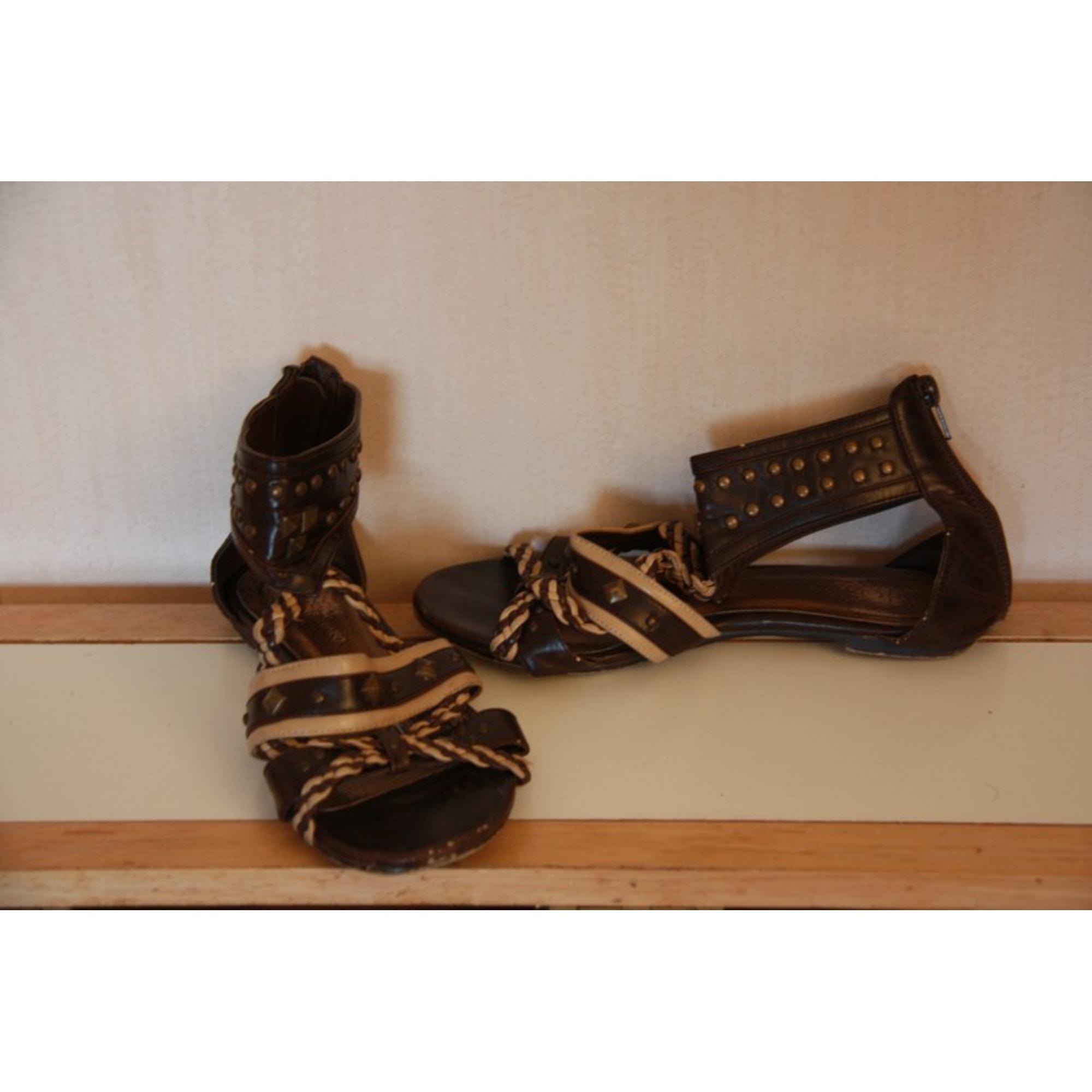 Sandales plates  TAMIKO Marron