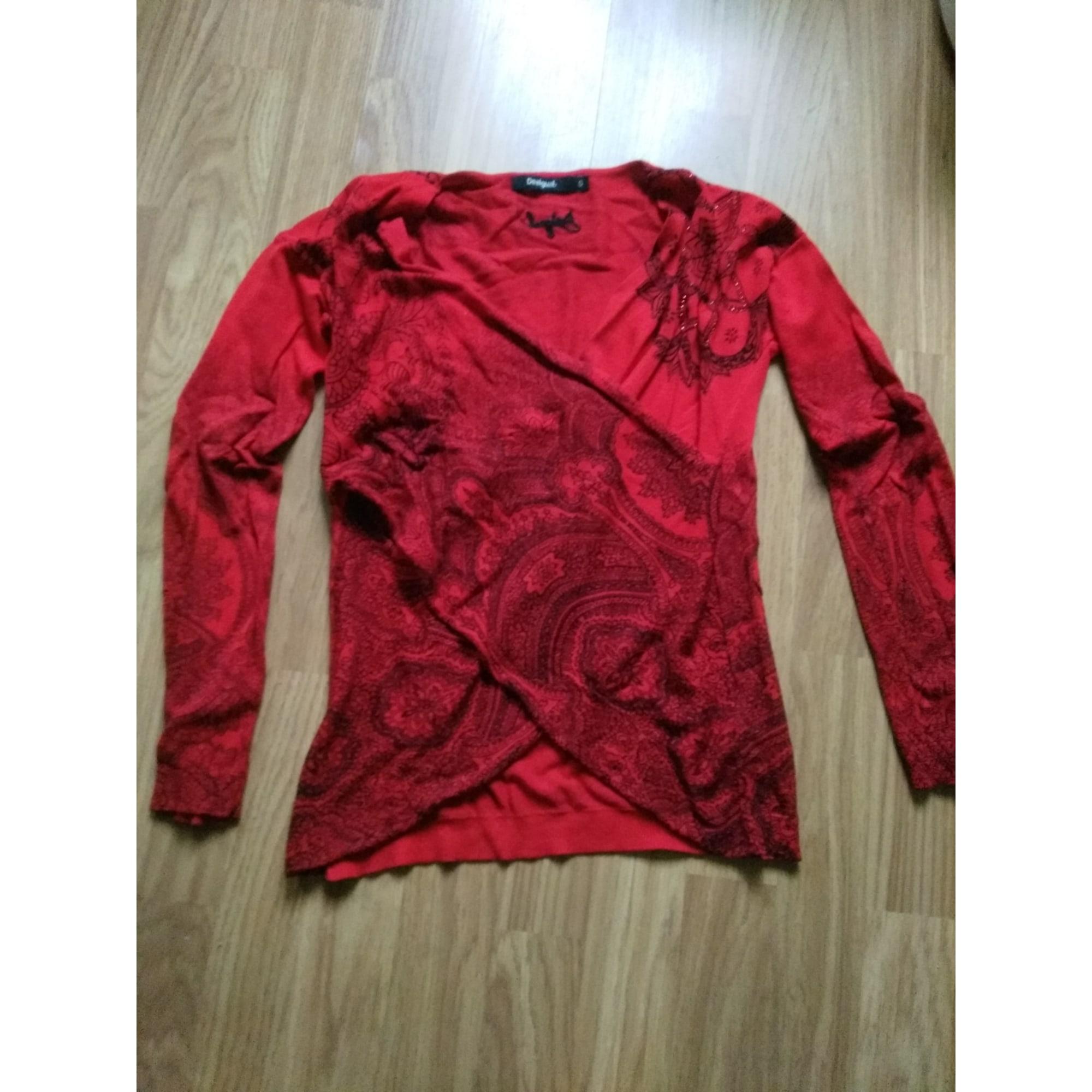 Pull DESIGUAL rouge et noir