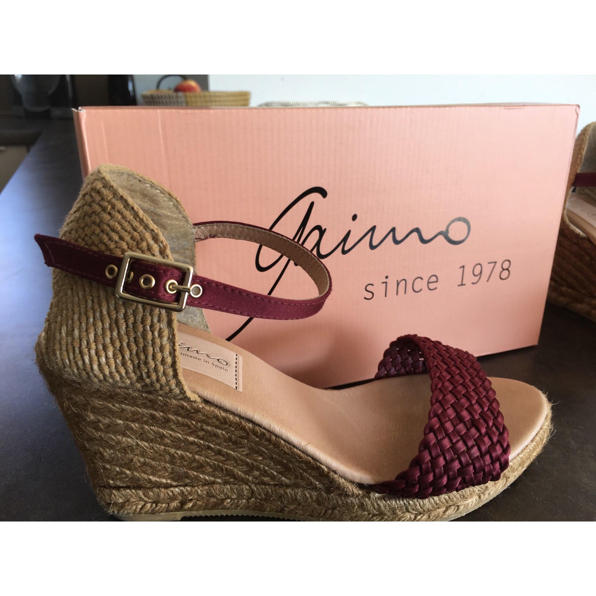 Sandales compensées GAIMO Rouge, bordeaux