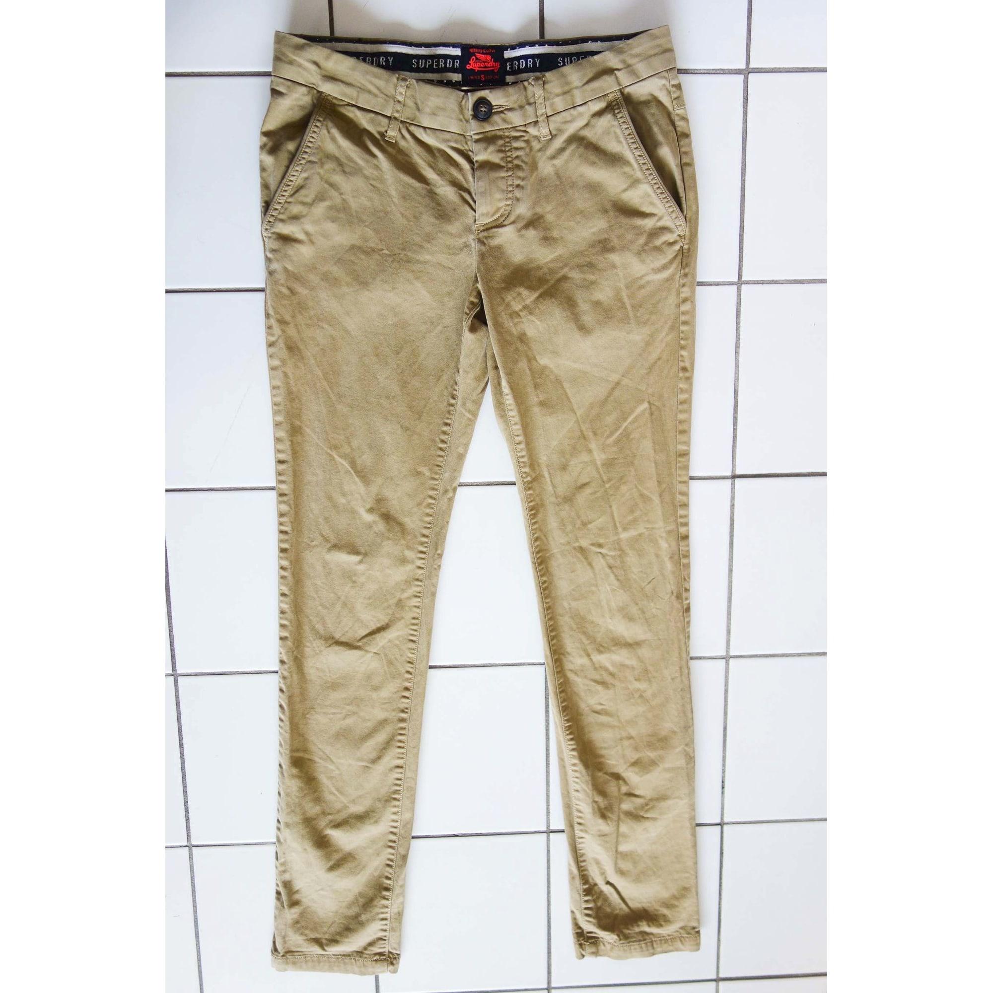 Pantalon slim SUPERDRY Beige, camel