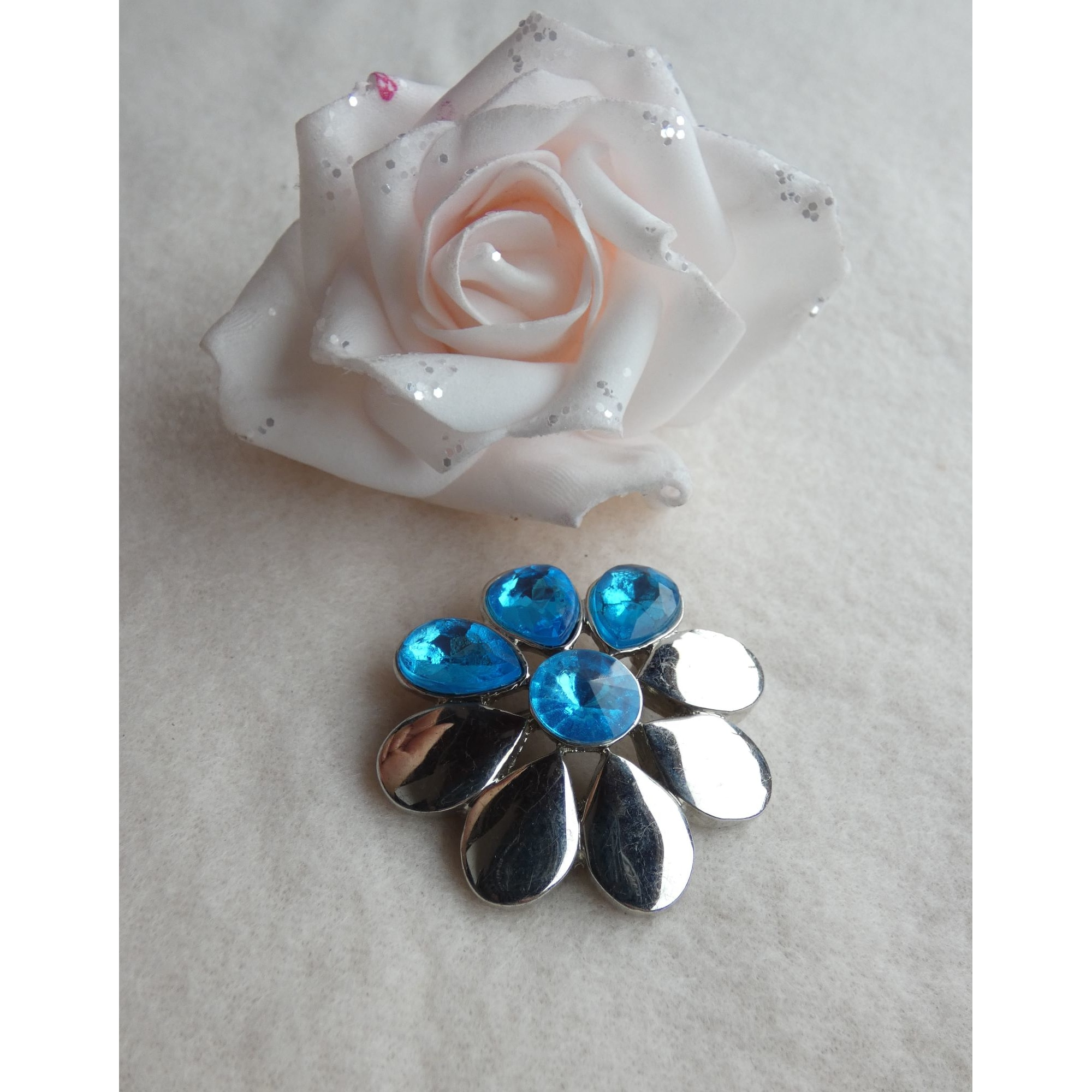 Broche 100% FASHION Bleu, bleu marine, bleu turquoise