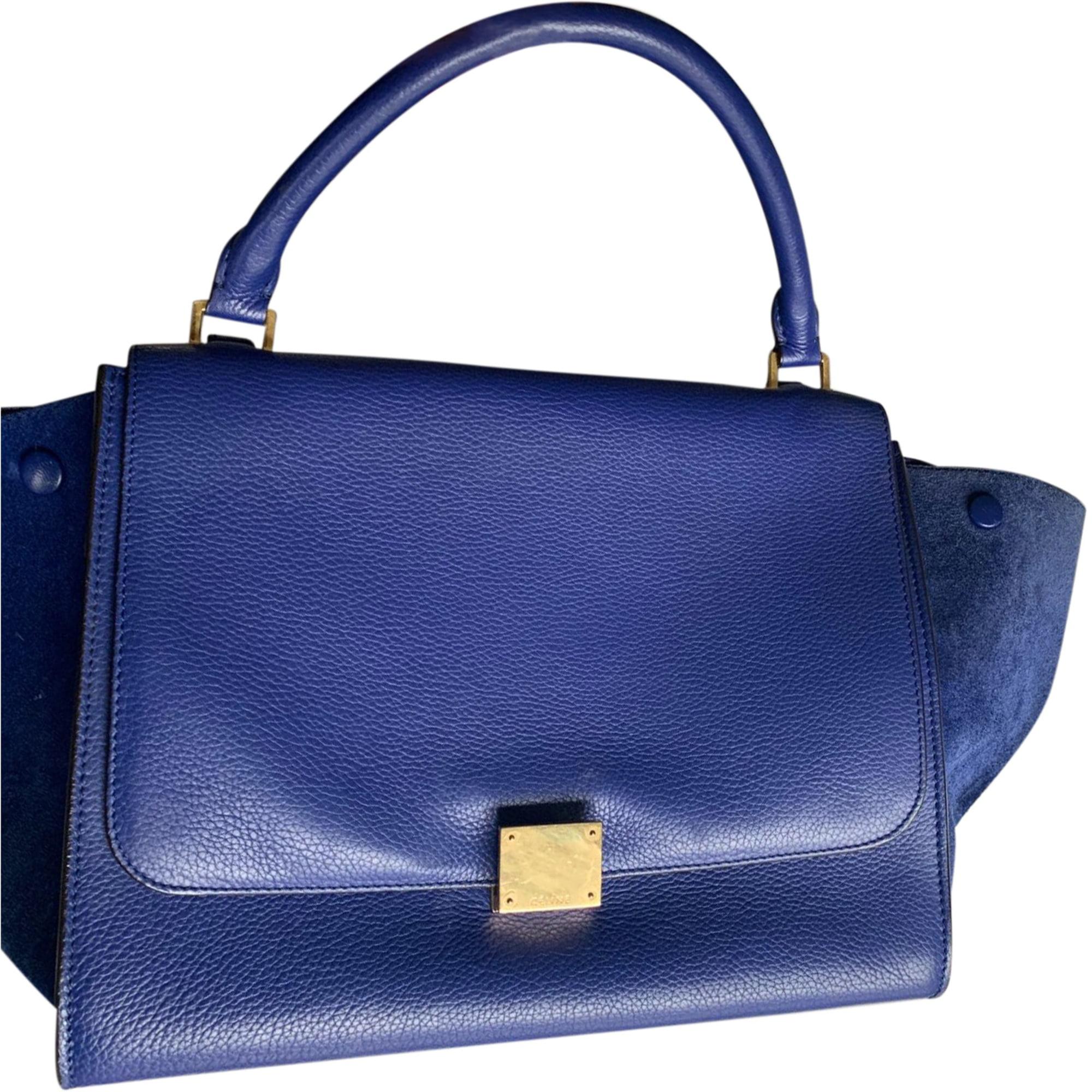 Sac à main en cuir CÉLINE Trapèze Bleu, bleu marine, bleu turquoise