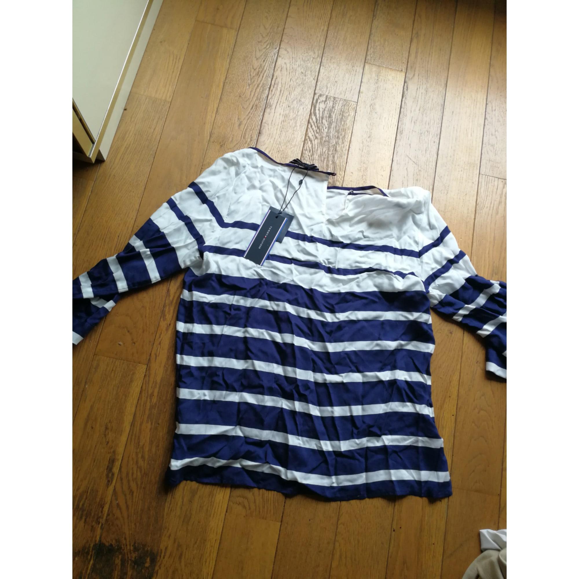 Top, tee-shirt TOMMY HILFIGER blanc et bleu marine