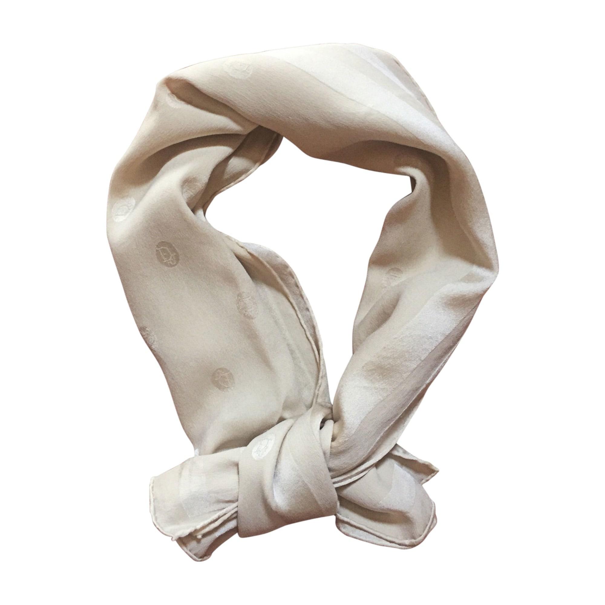 Foulard DIOR Blanc, blanc cassé, écru
