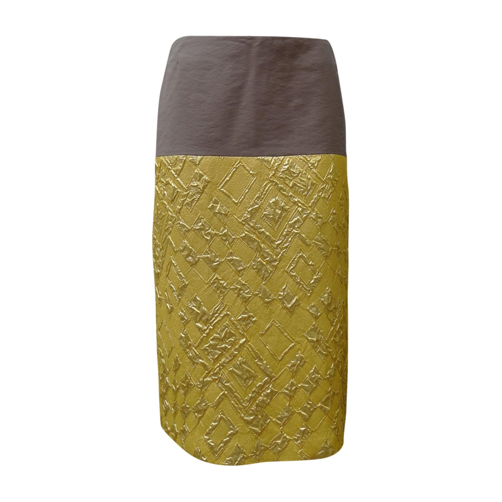 Jupe mi-longue DRIES VAN NOTEN Doré, bronze, cuivre