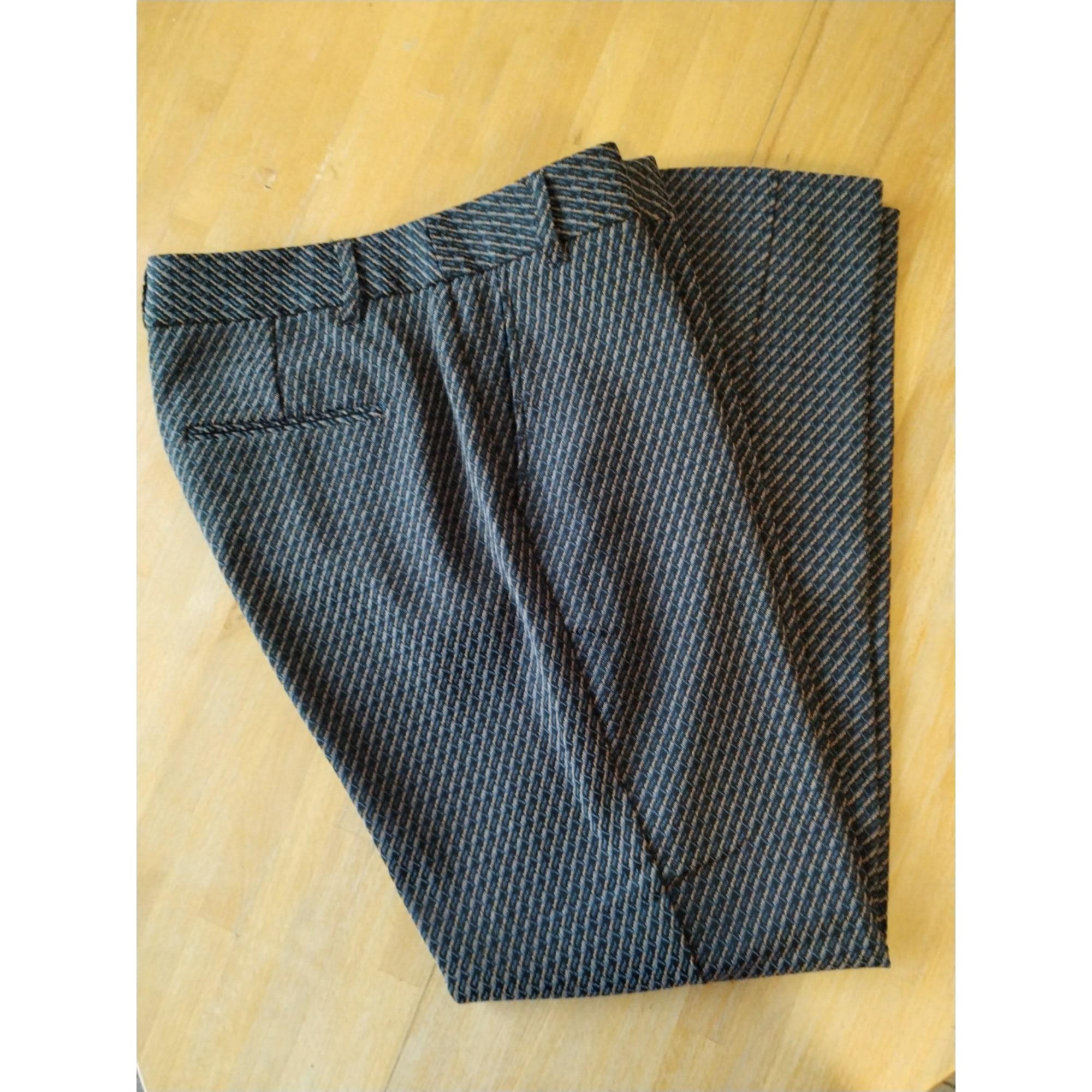 Pantalon droit MKT bleu gris jaune