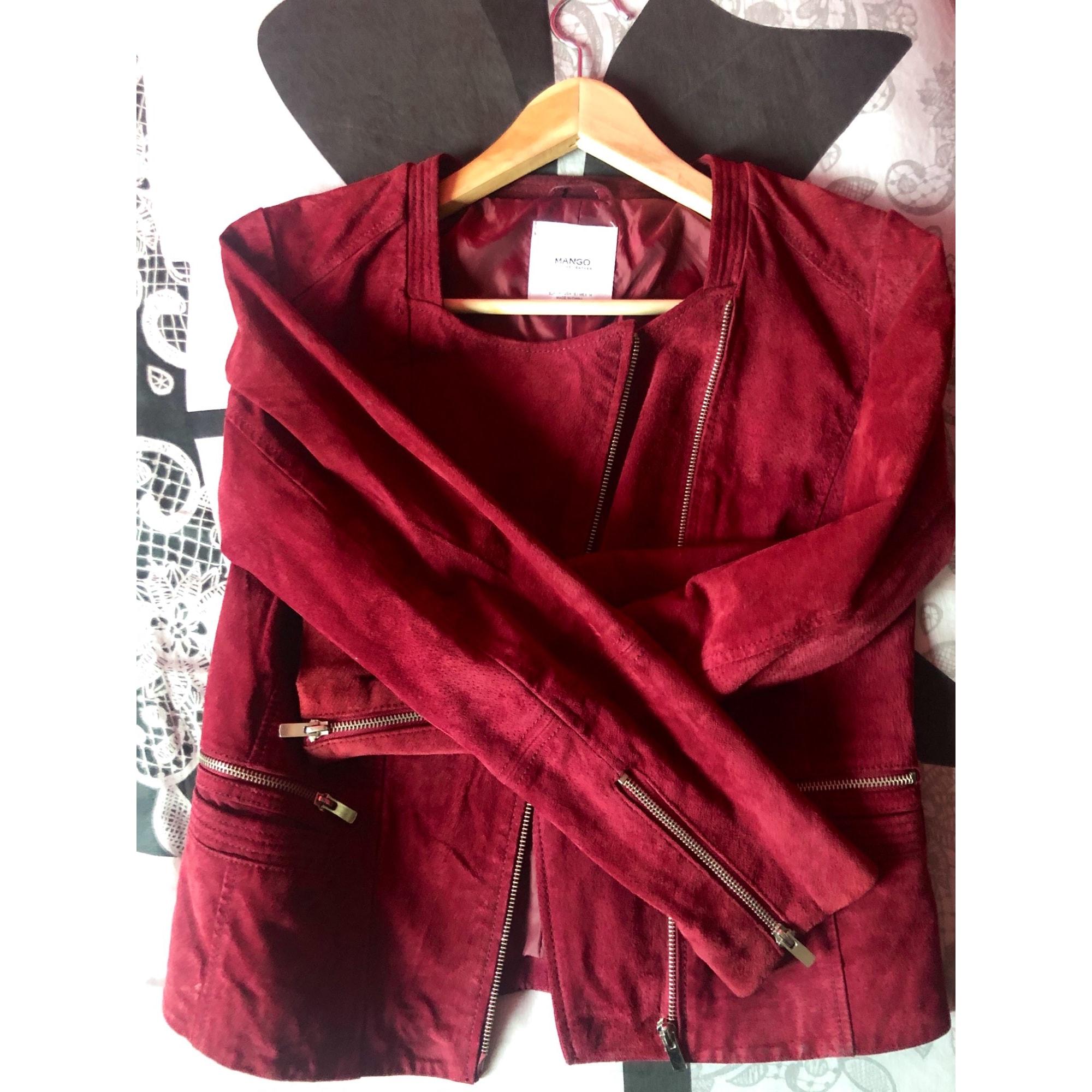 Veste en cuir MANGO Rouge, bordeaux