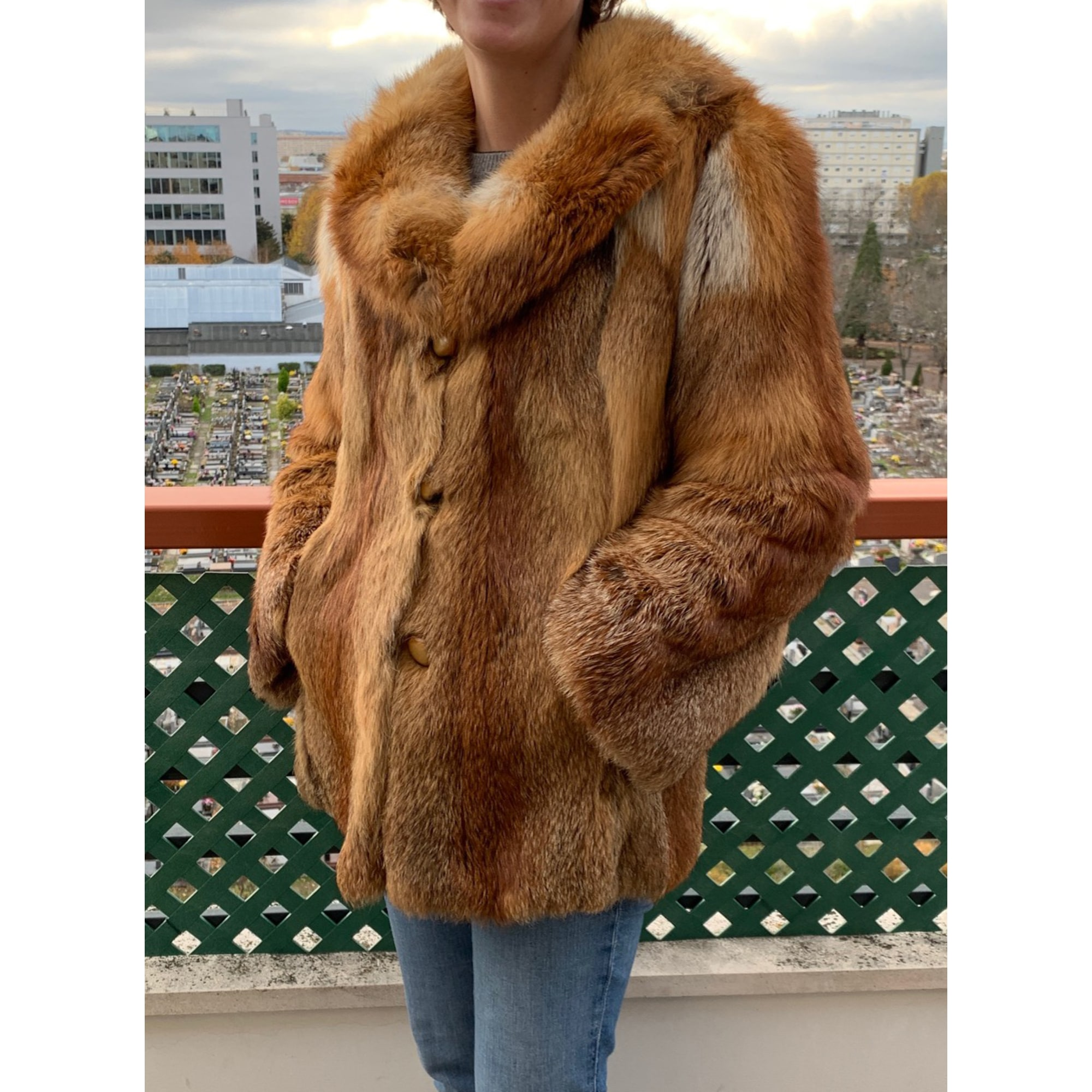 Manteau en fourrure ARTISAN FOURREUR Doré, bronze, cuivre