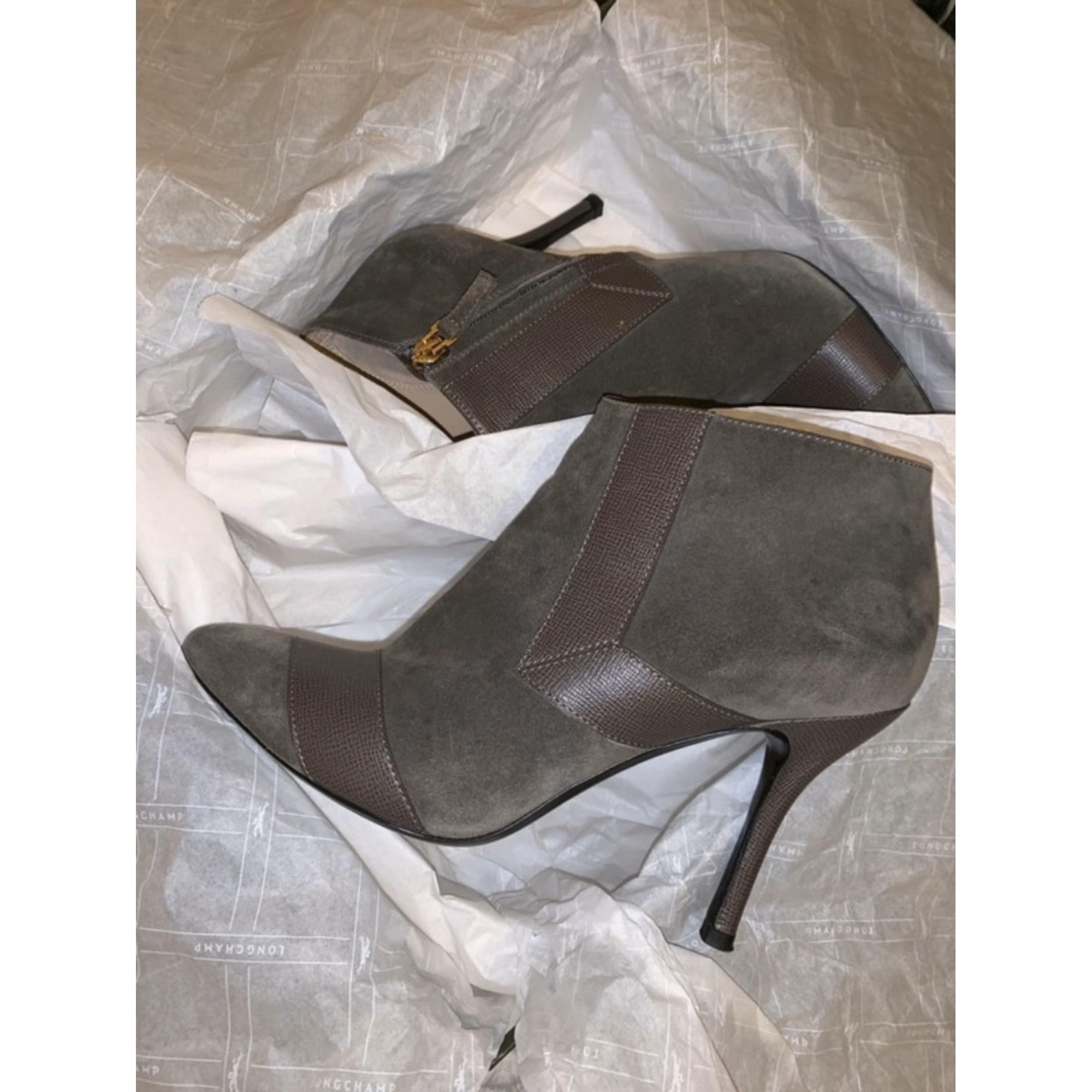 Bottines & low boots à talons LONGCHAMP Gris, anthracite