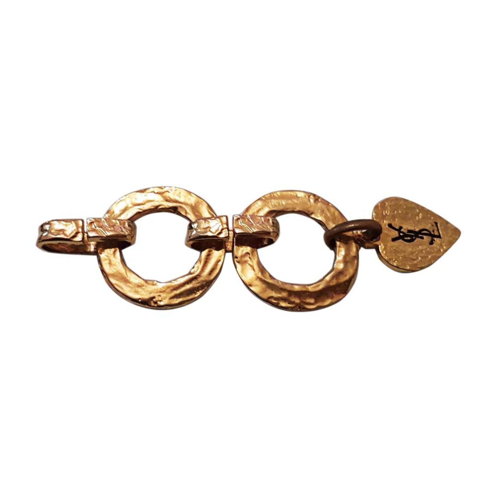 Collier YVES SAINT LAURENT Doré, bronze, cuivre