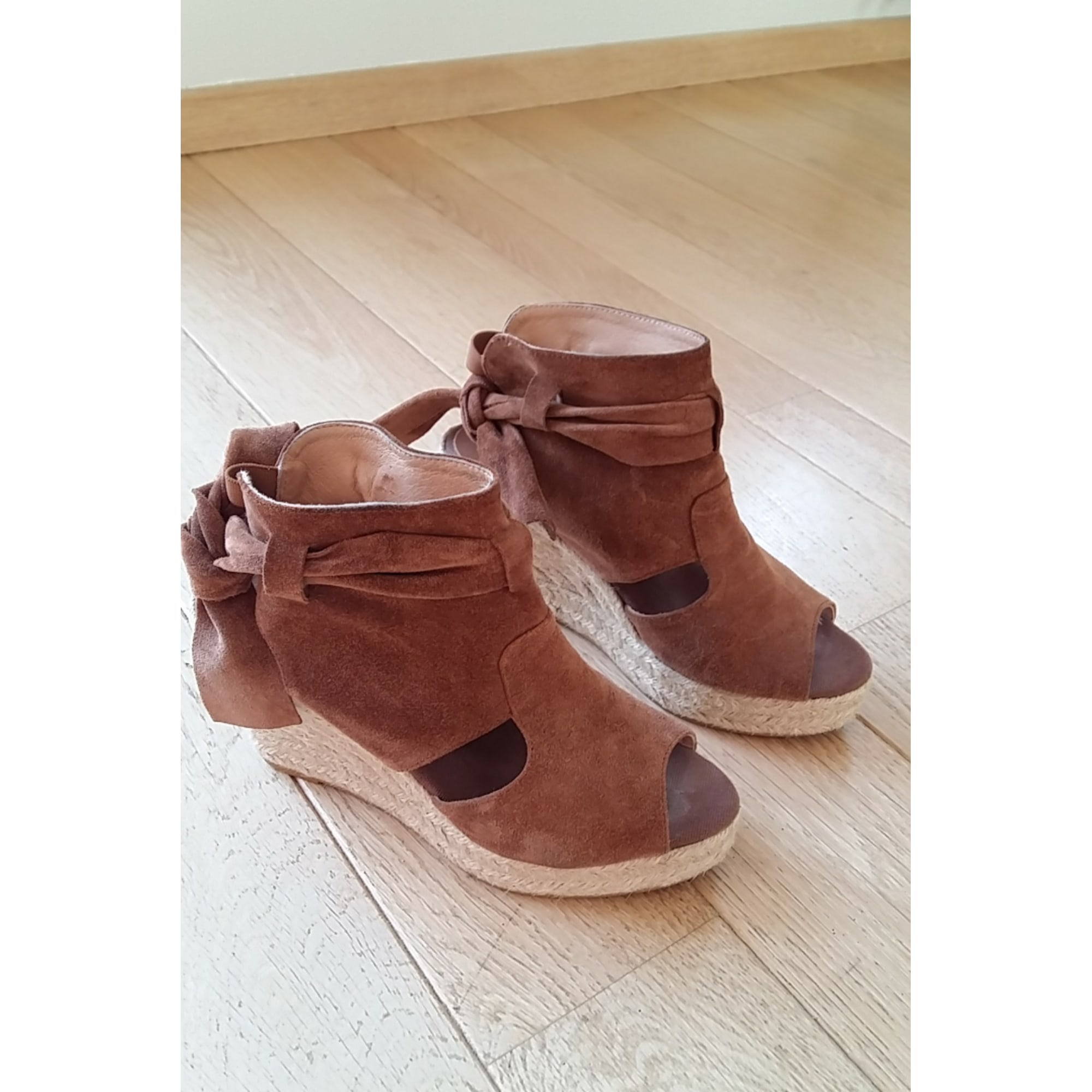 Sandales compensées KANNA cognac