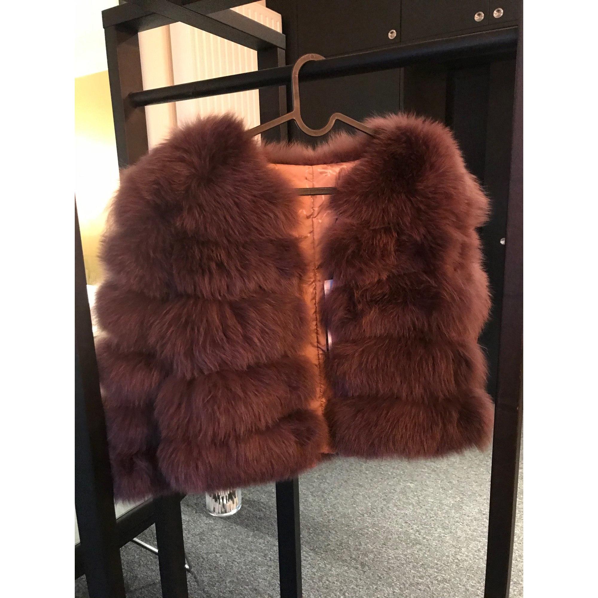 Manteau en fourrure NON SIGNÉ Violet, mauve, lavande