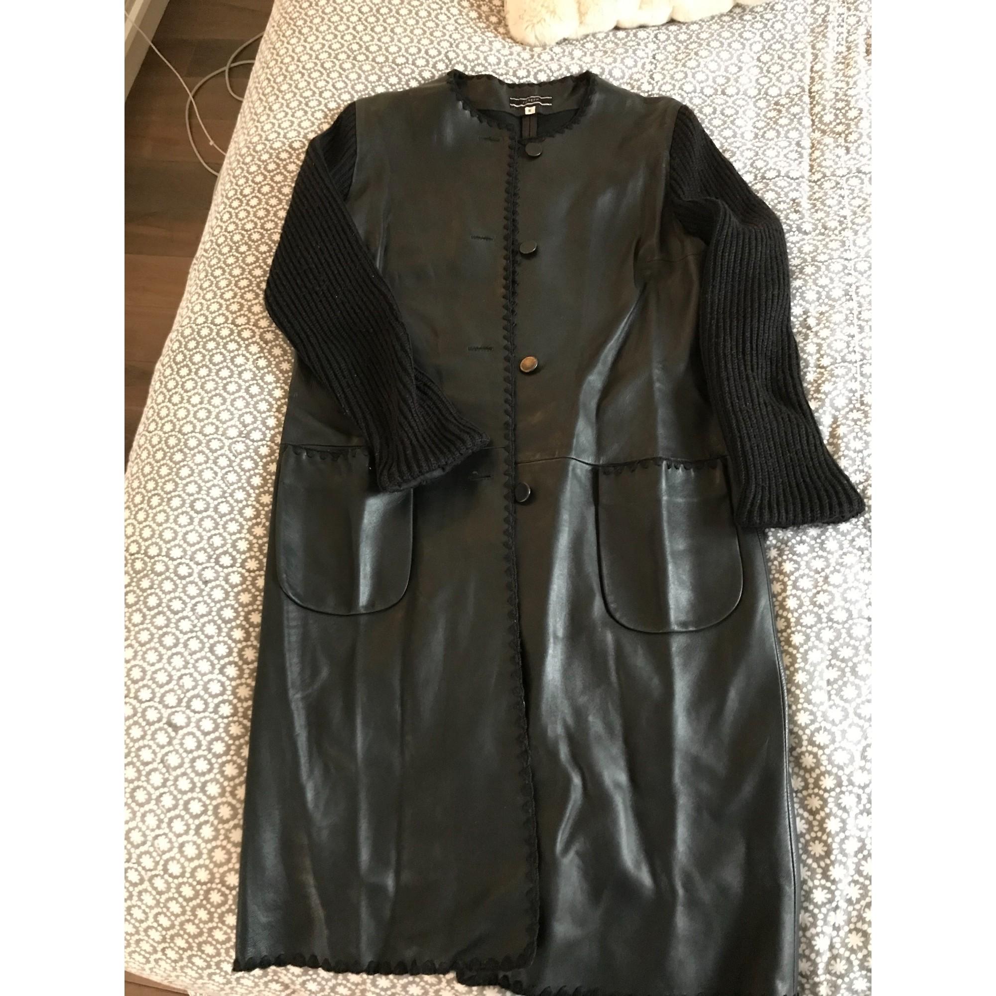 Manteau en cuir JOSEPH Noir