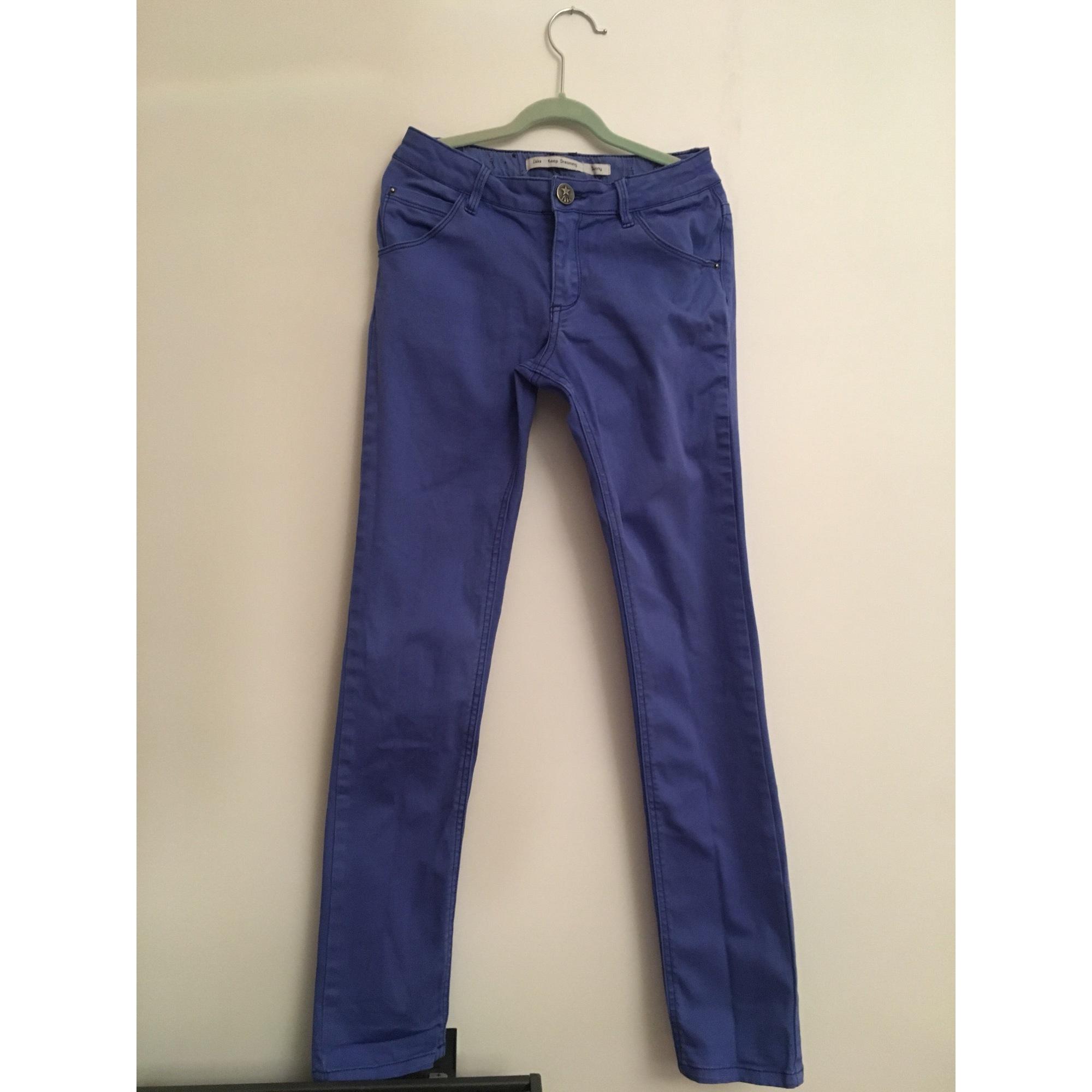 Pantalon slim, cigarette IKKS Bleu, bleu marine, bleu turquoise