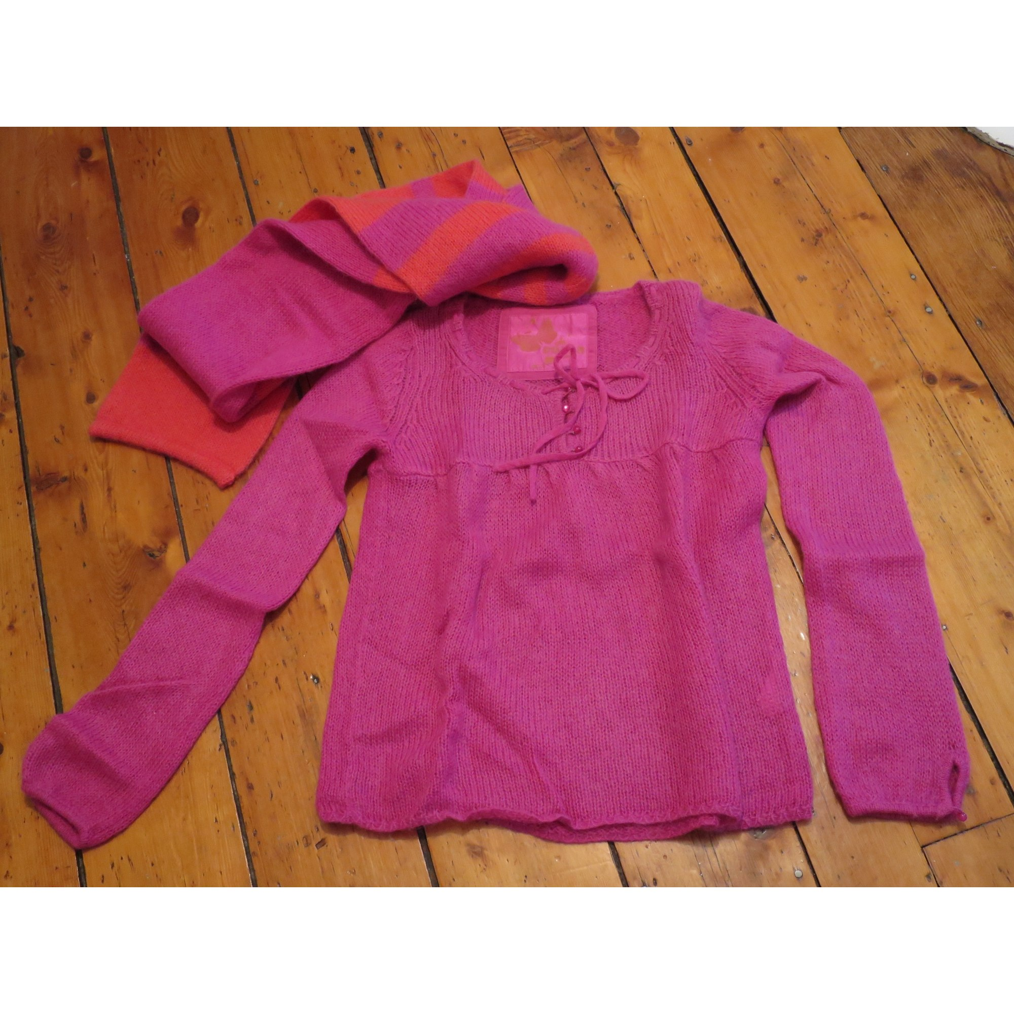 Pull COLOR BY T&M Rose, fuschia, vieux rose