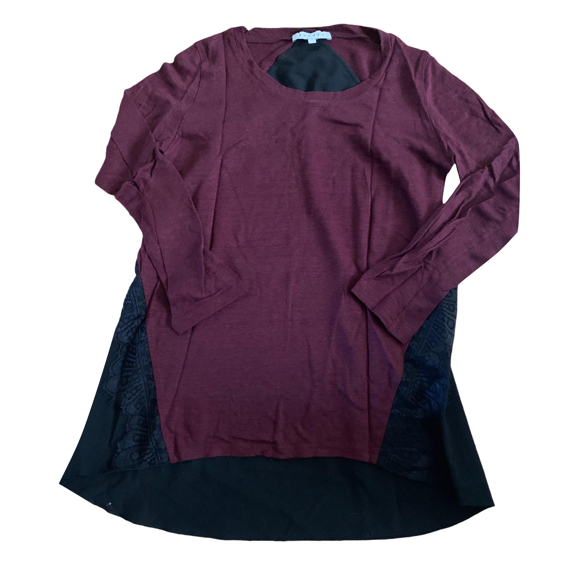 Top, tee-shirt SANDRO Rouge, bordeaux