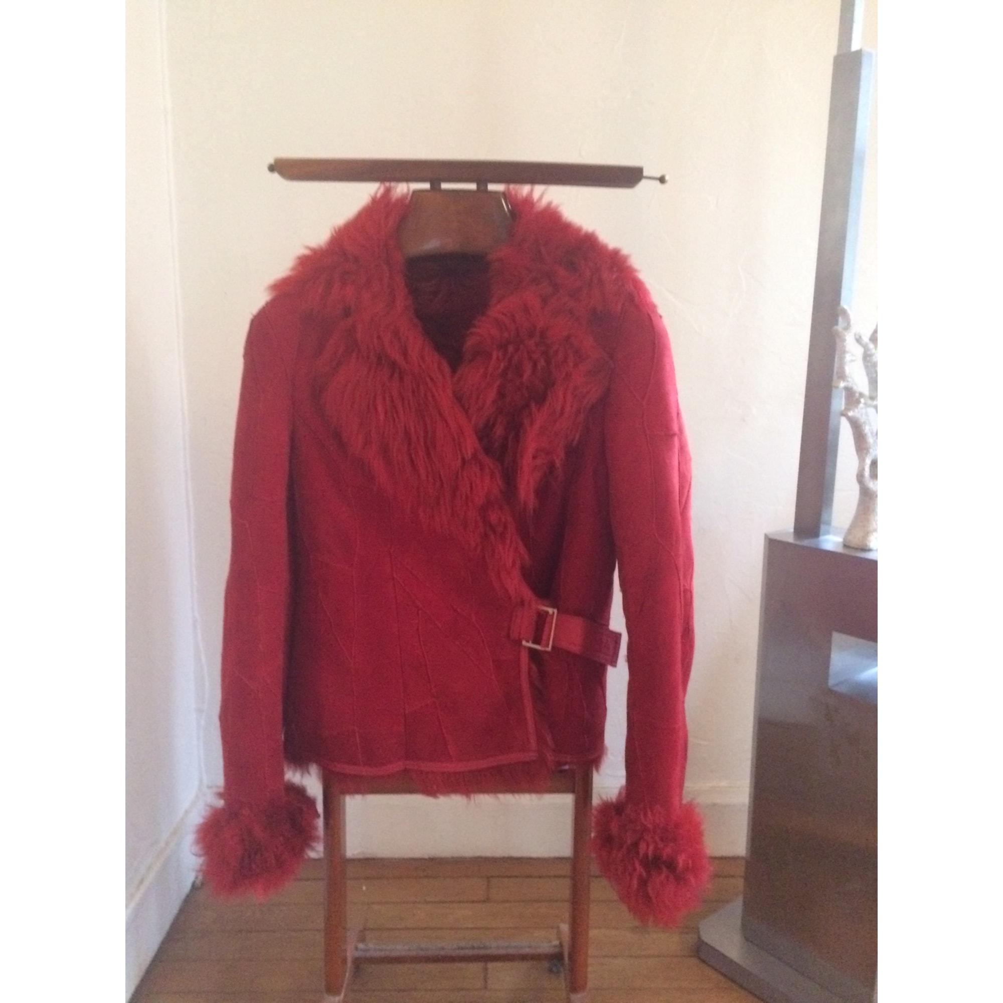 Manteau en fourrure COCO DE PARIS Rouge, bordeaux