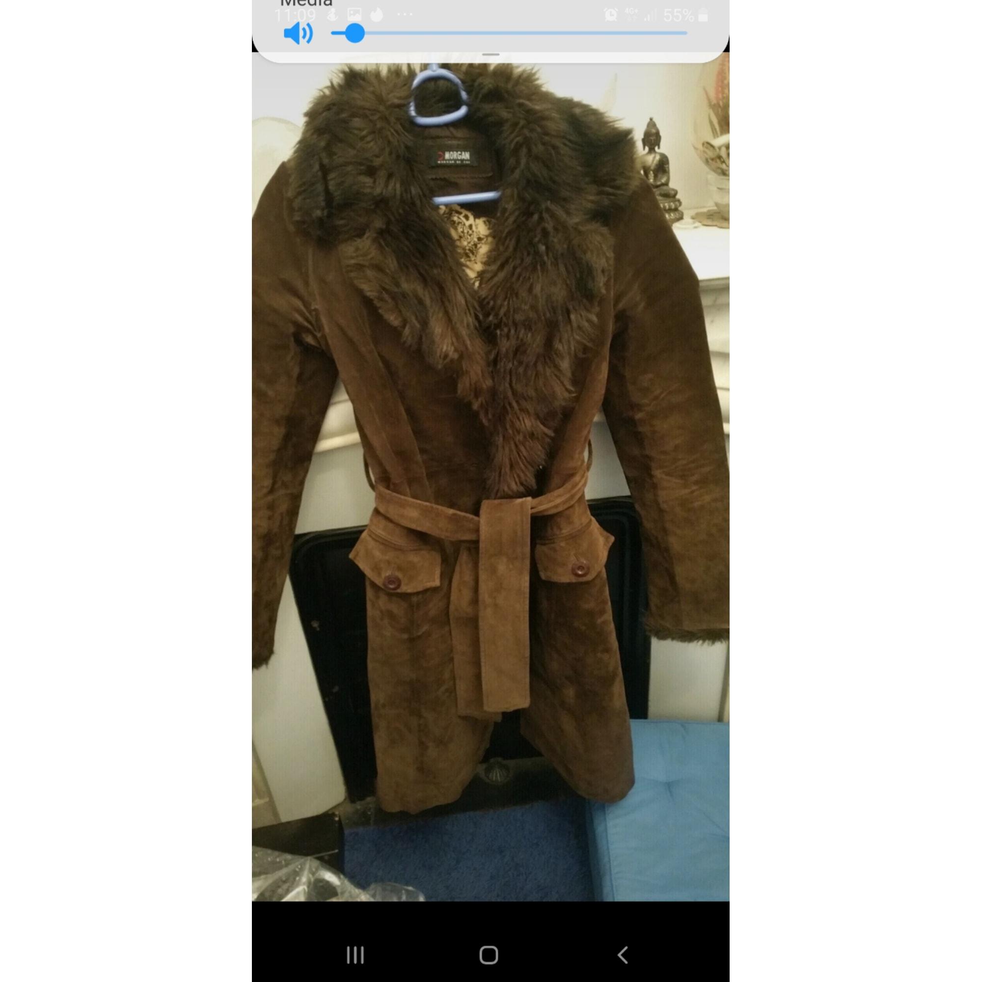 Manteau en cuir MORGAN Marron