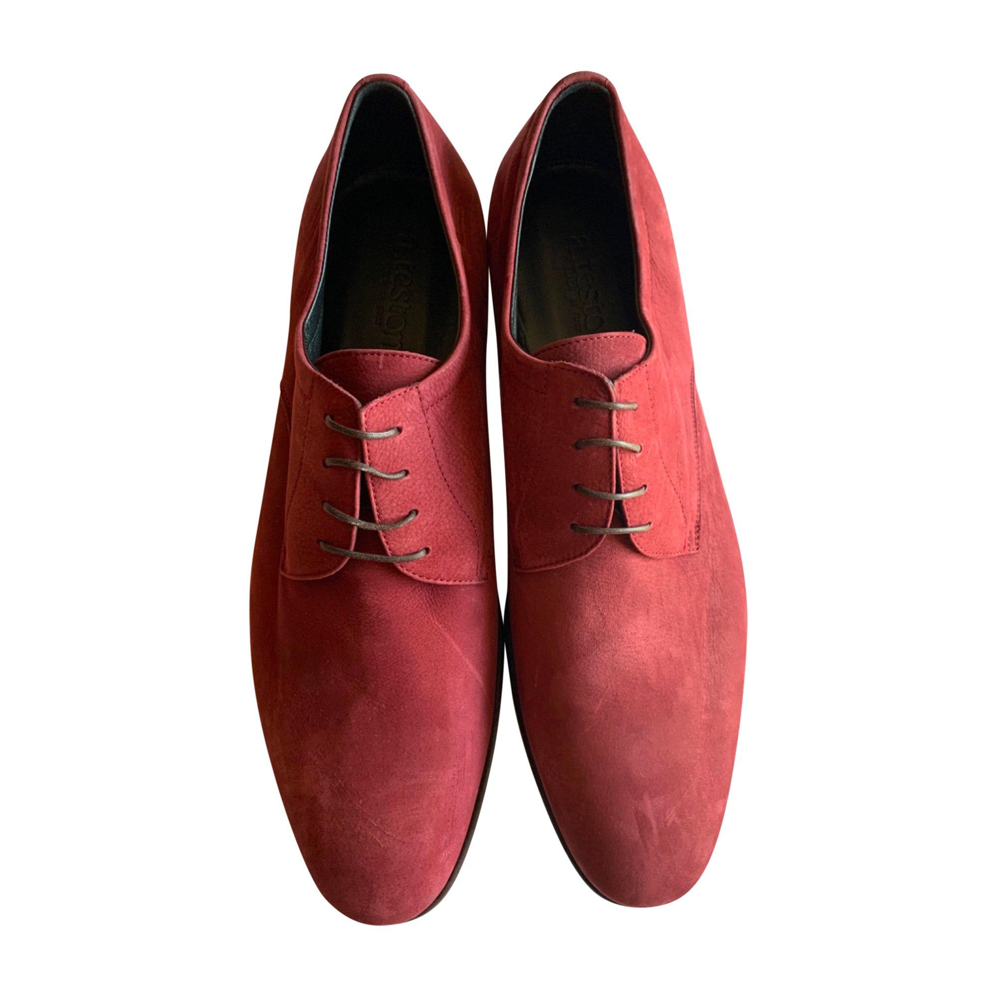 Chaussures à lacets SANTONI Rouge, bordeaux