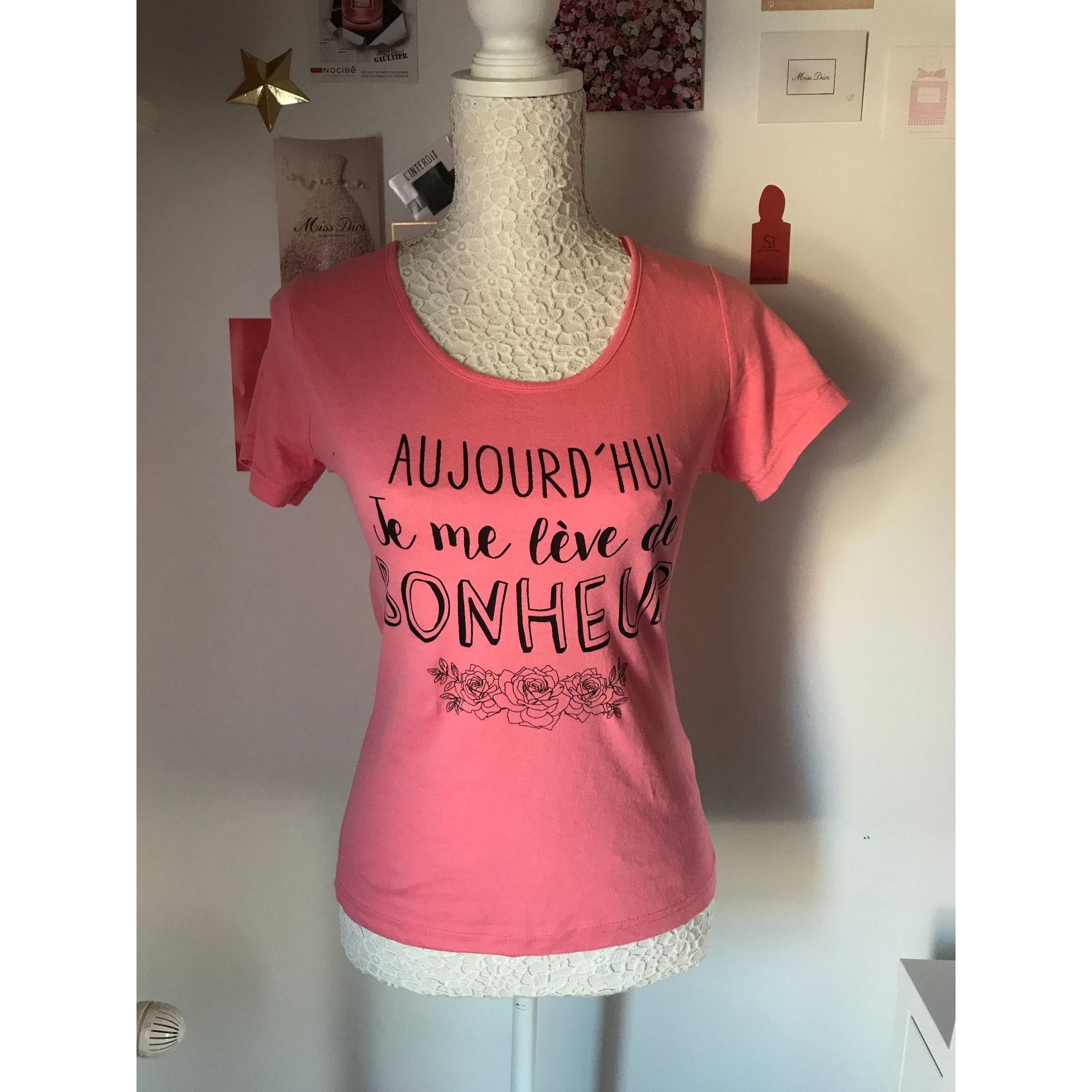 Top, tee-shirt BASIC ONE Rose, fuschia, vieux rose