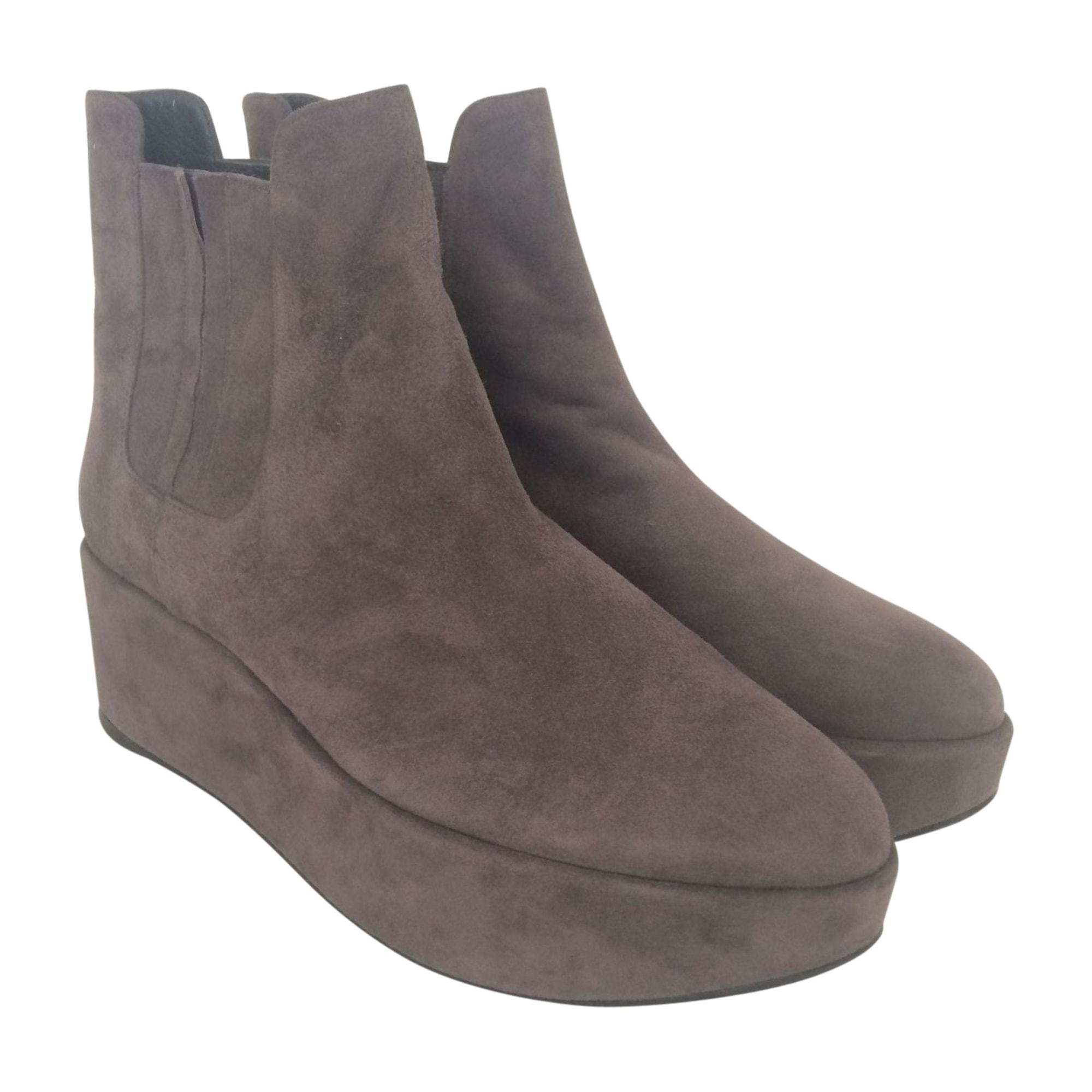 Bottines & low boots à compensés STUART WEITZMAN Gris, anthracite