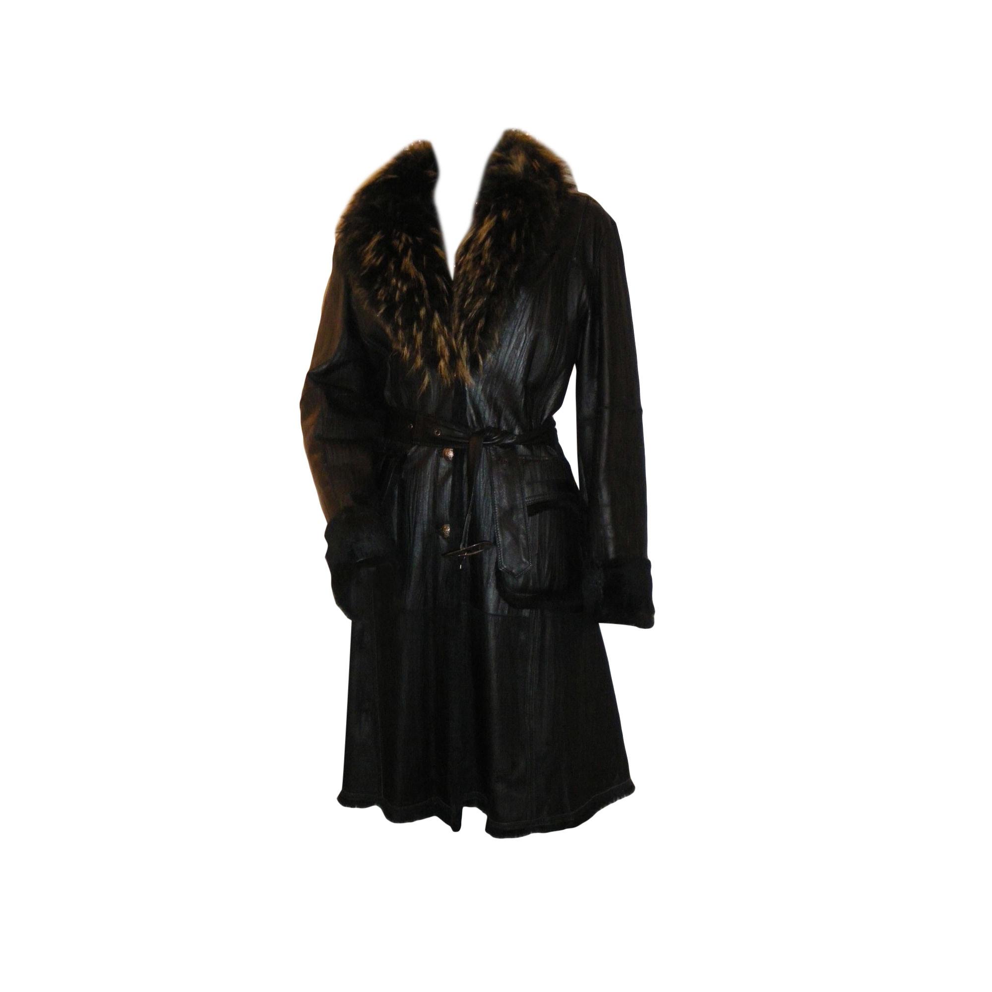 Manteau en cuir GIORGIO Noir