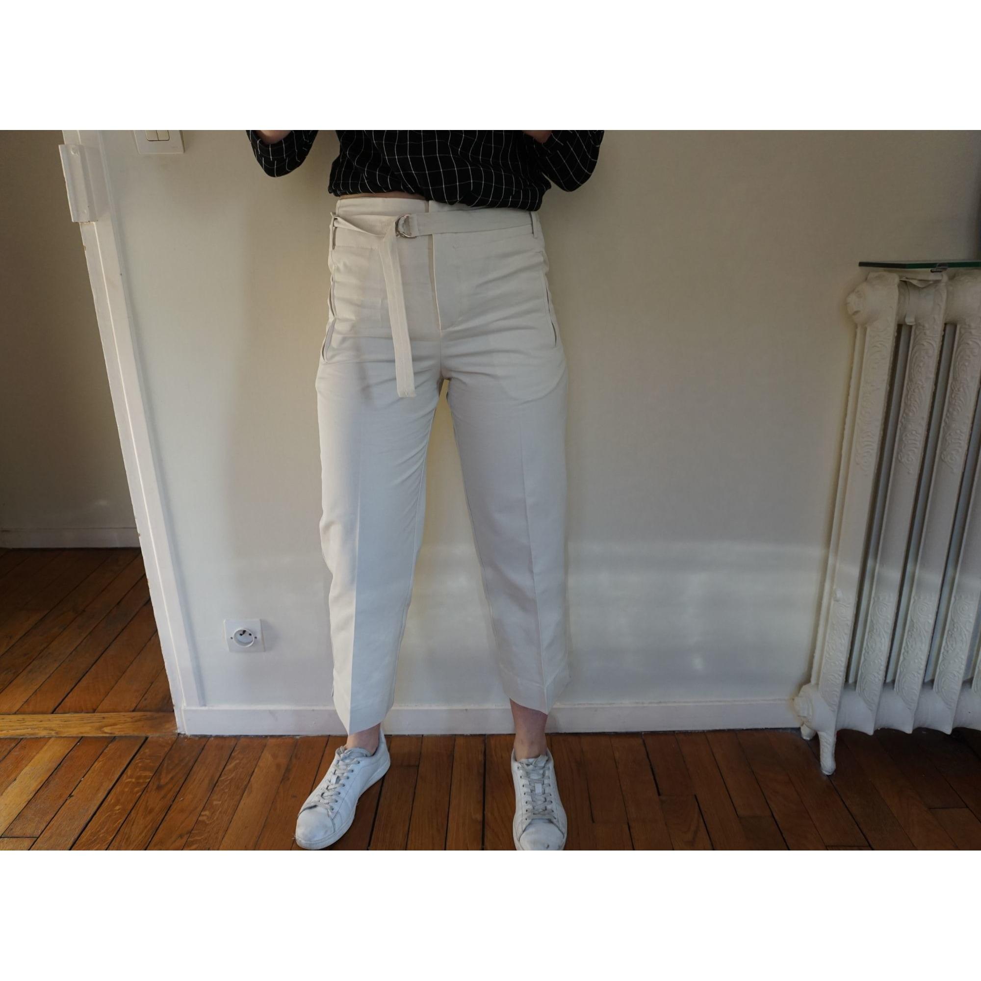 Pantalon droit MANGO Blanc, blanc cassé, écru