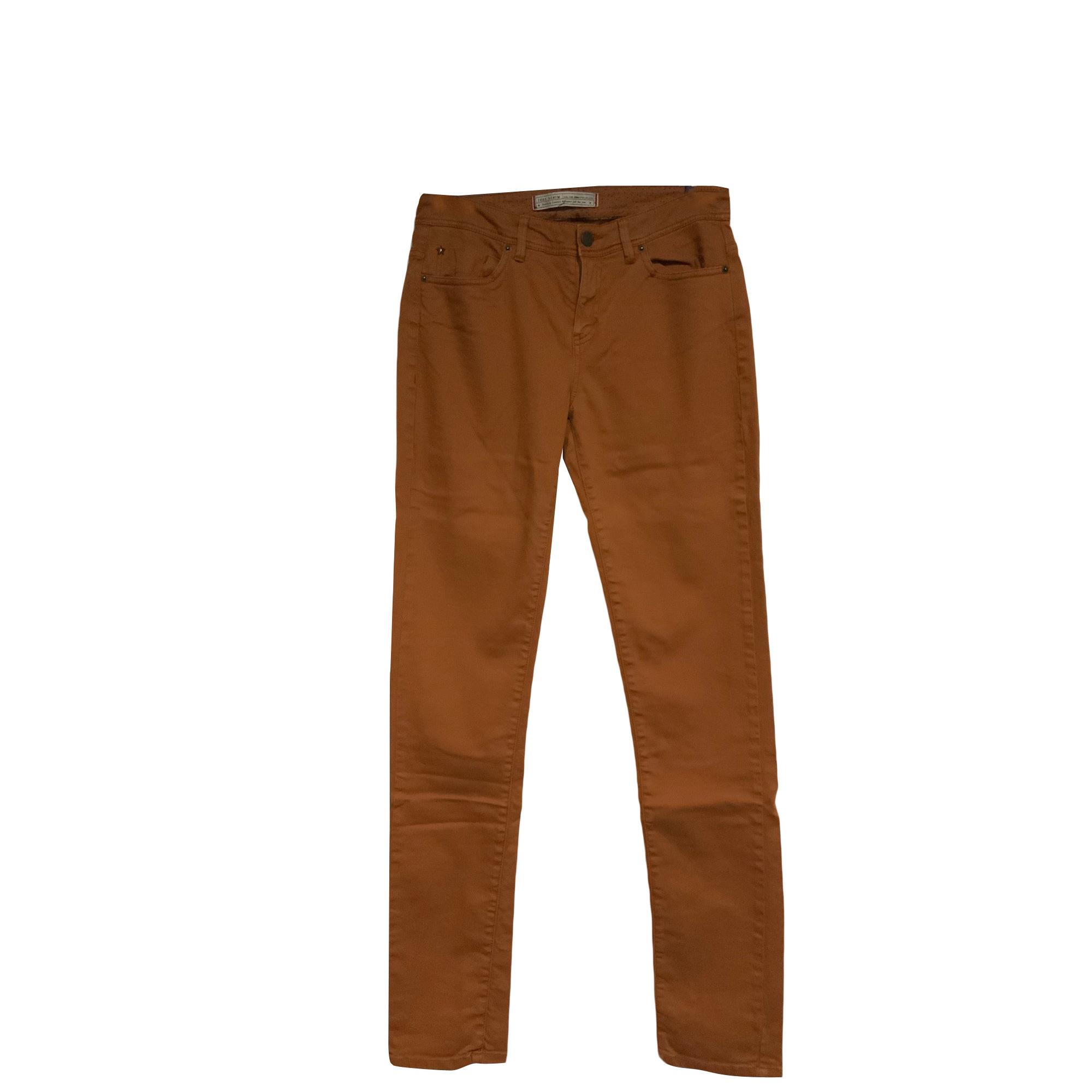 Pantalon slim, cigarette IKKS Beige, camel
