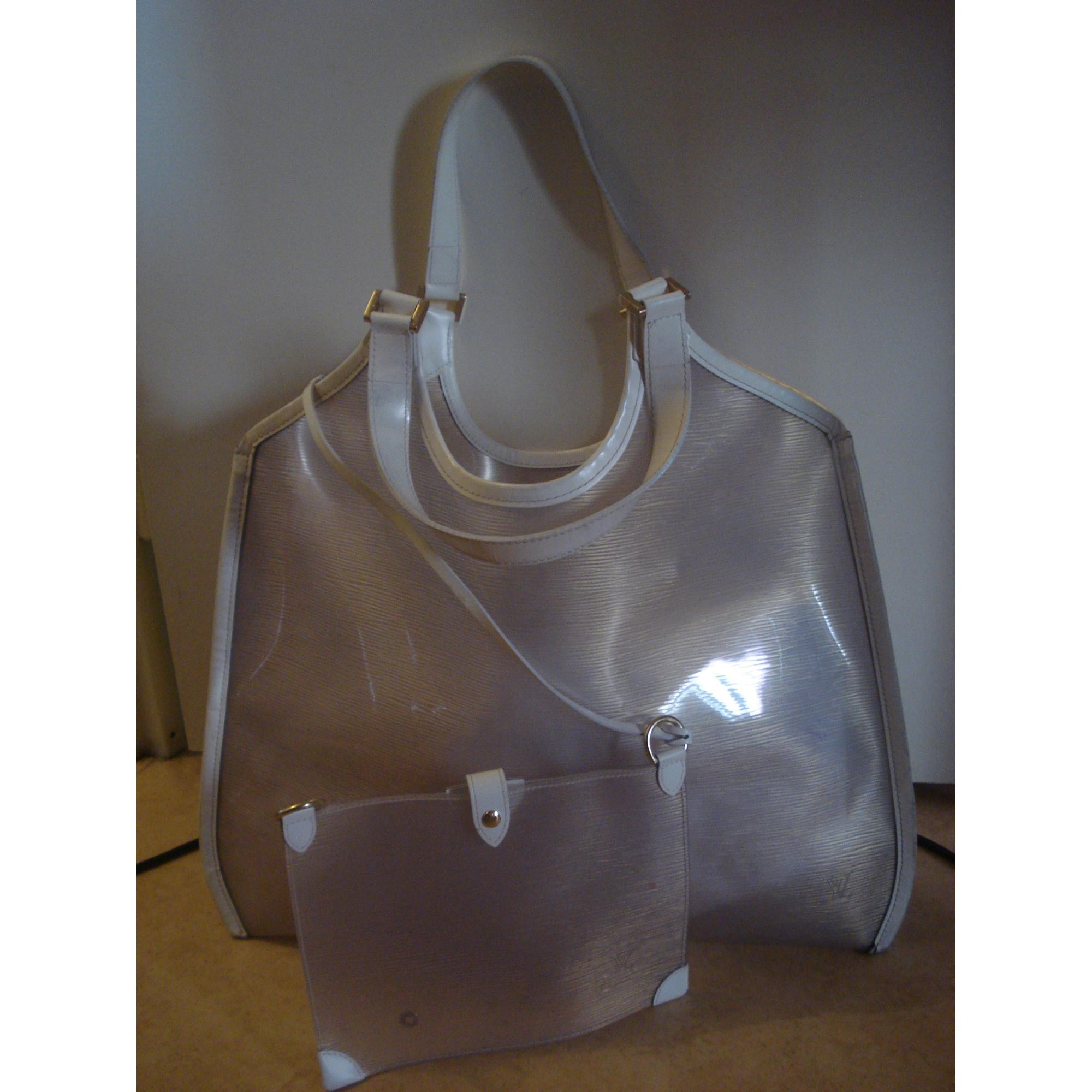 9606c68853b Sac XL en cuir LOUIS VUITTON vinyl transparent opaque  cuir blanc ...