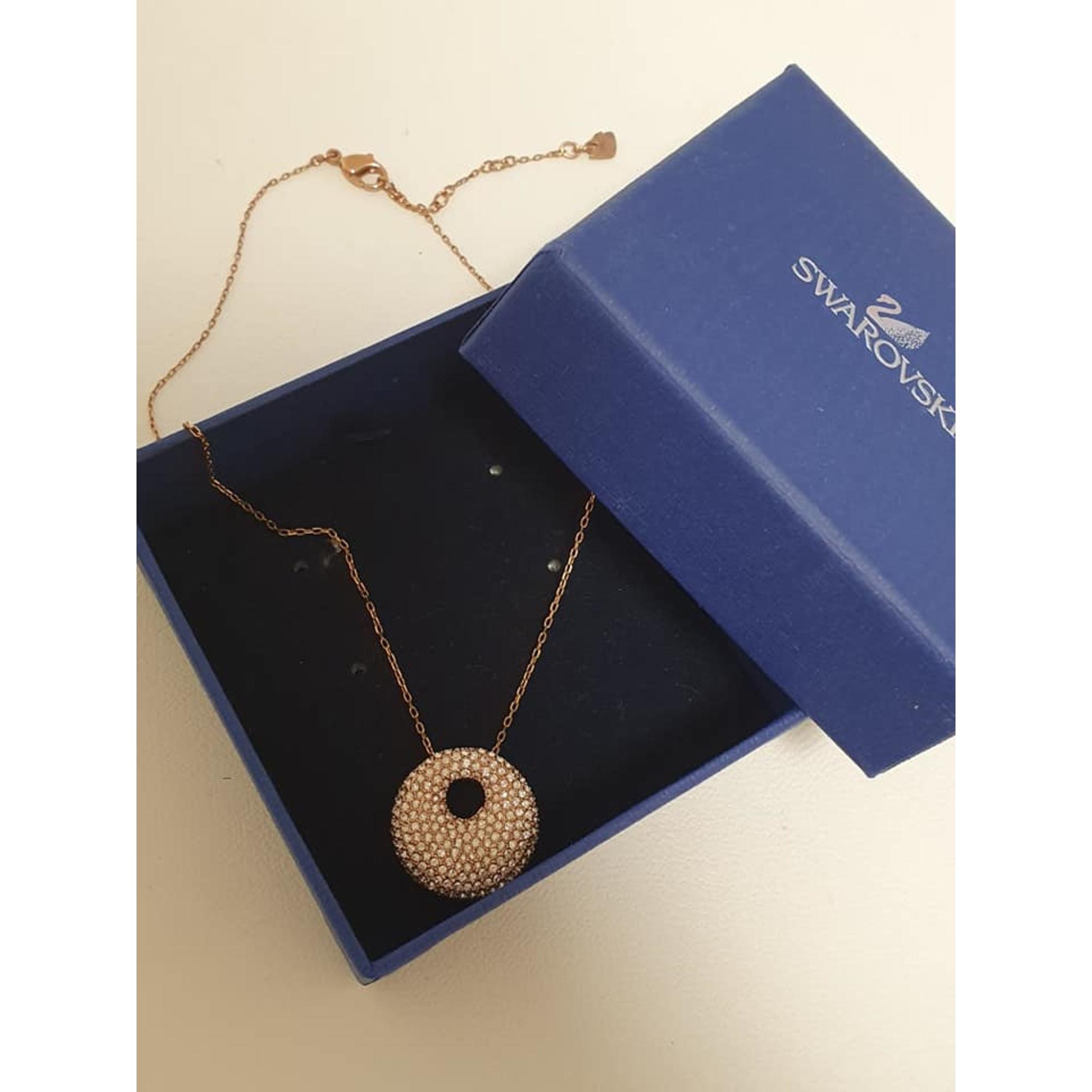 Pendentif, collier pendentif SWAROVSKI chrome doré