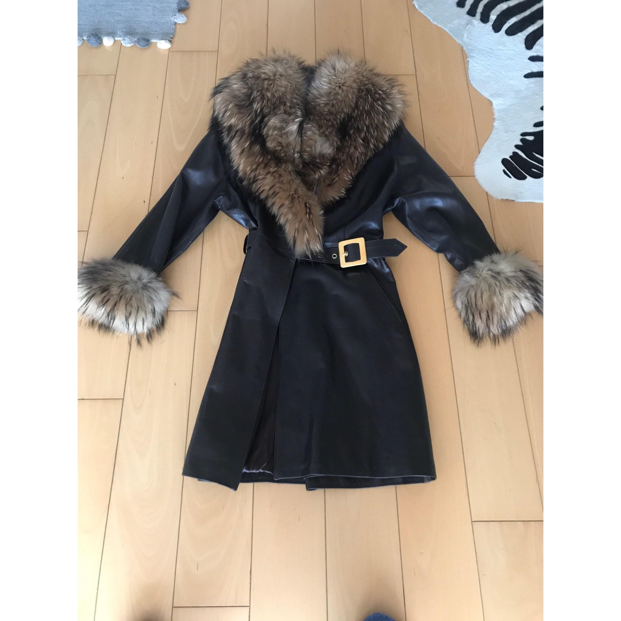 Manteau en cuir VINTAGE Marron