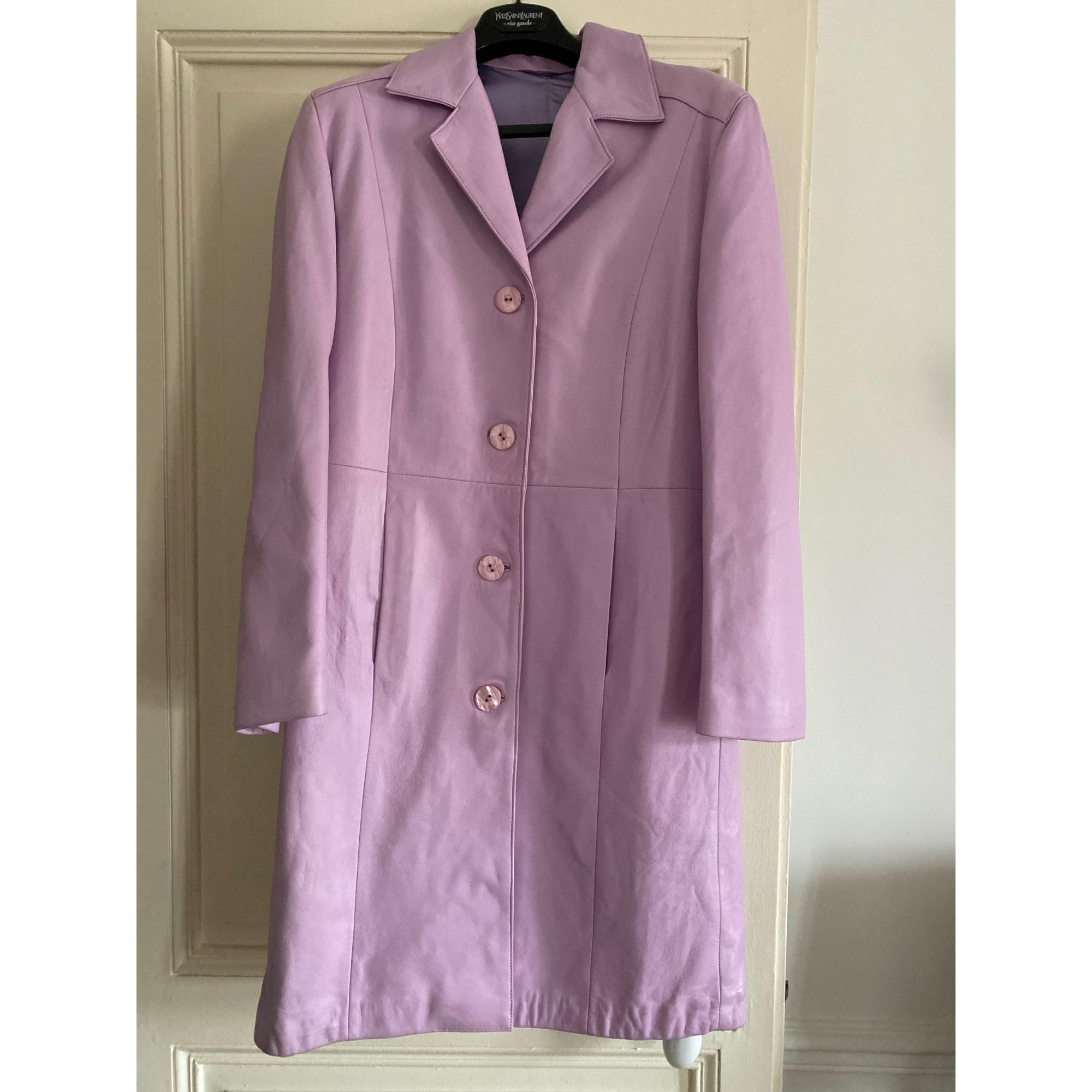 Manteau en cuir VINTAGE Violet, mauve, lavande