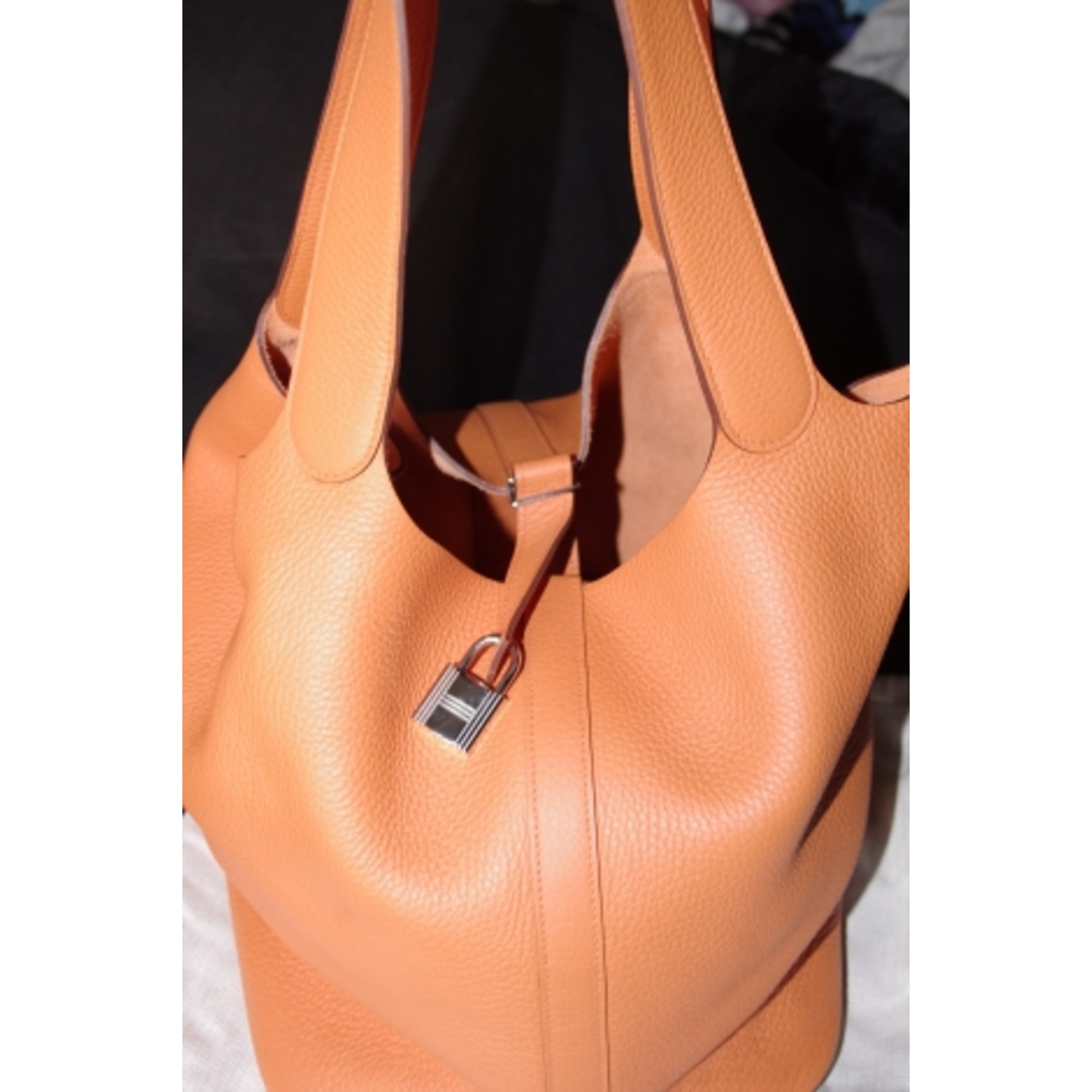 8ffdee0ff8 Sac à main en cuir HERMÈS orange - 1173784