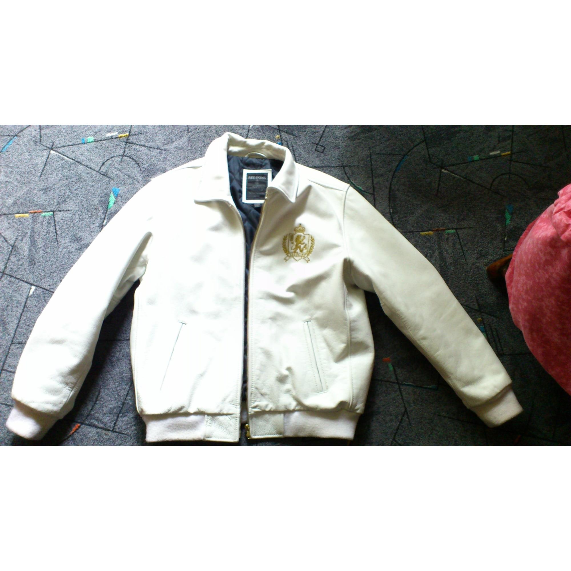 Veste en cuir redskins blanche