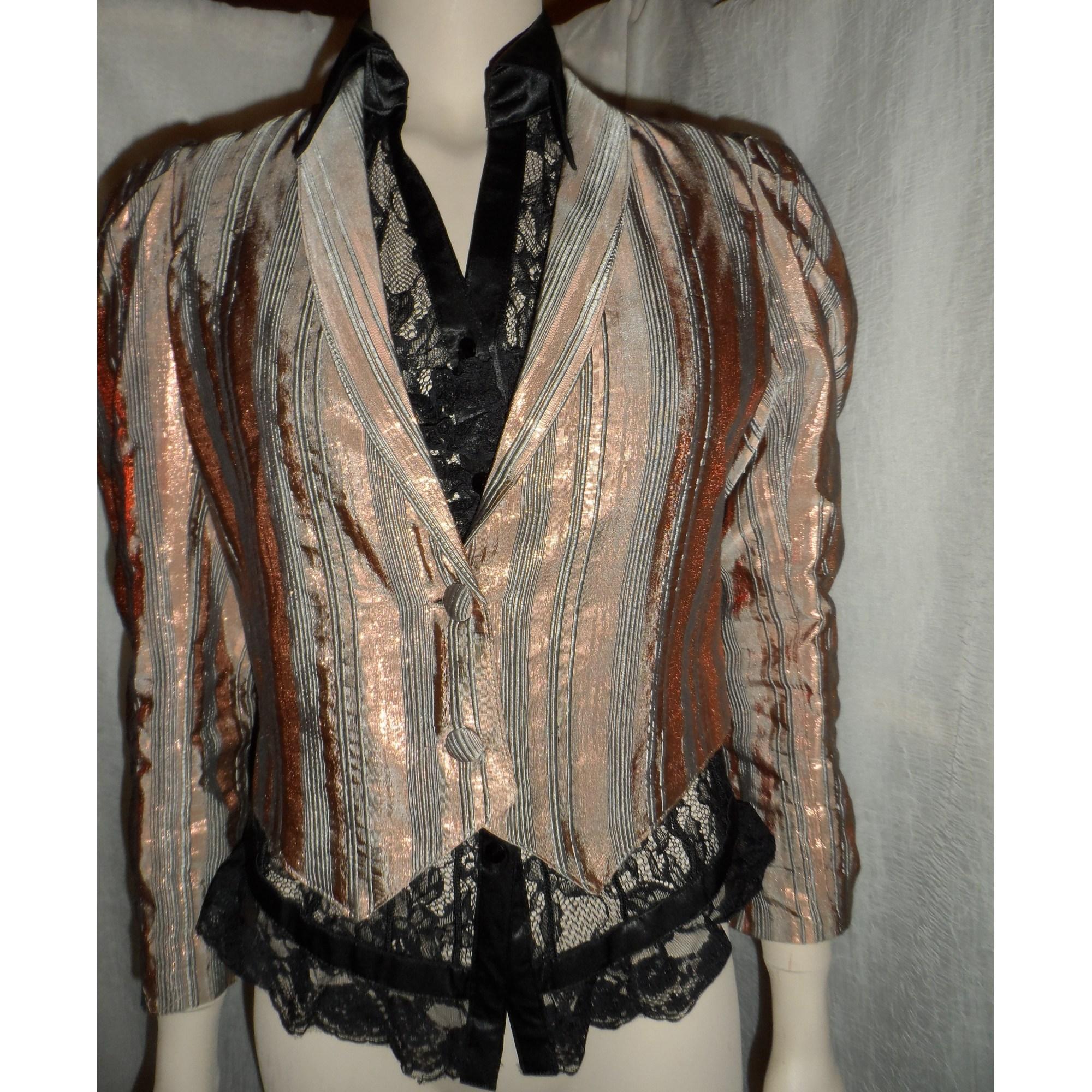 dcb34c8f08 Blazer, veste tailleur AMERICAN RETRO 38 (M, T2) rose cuivré et gris ...