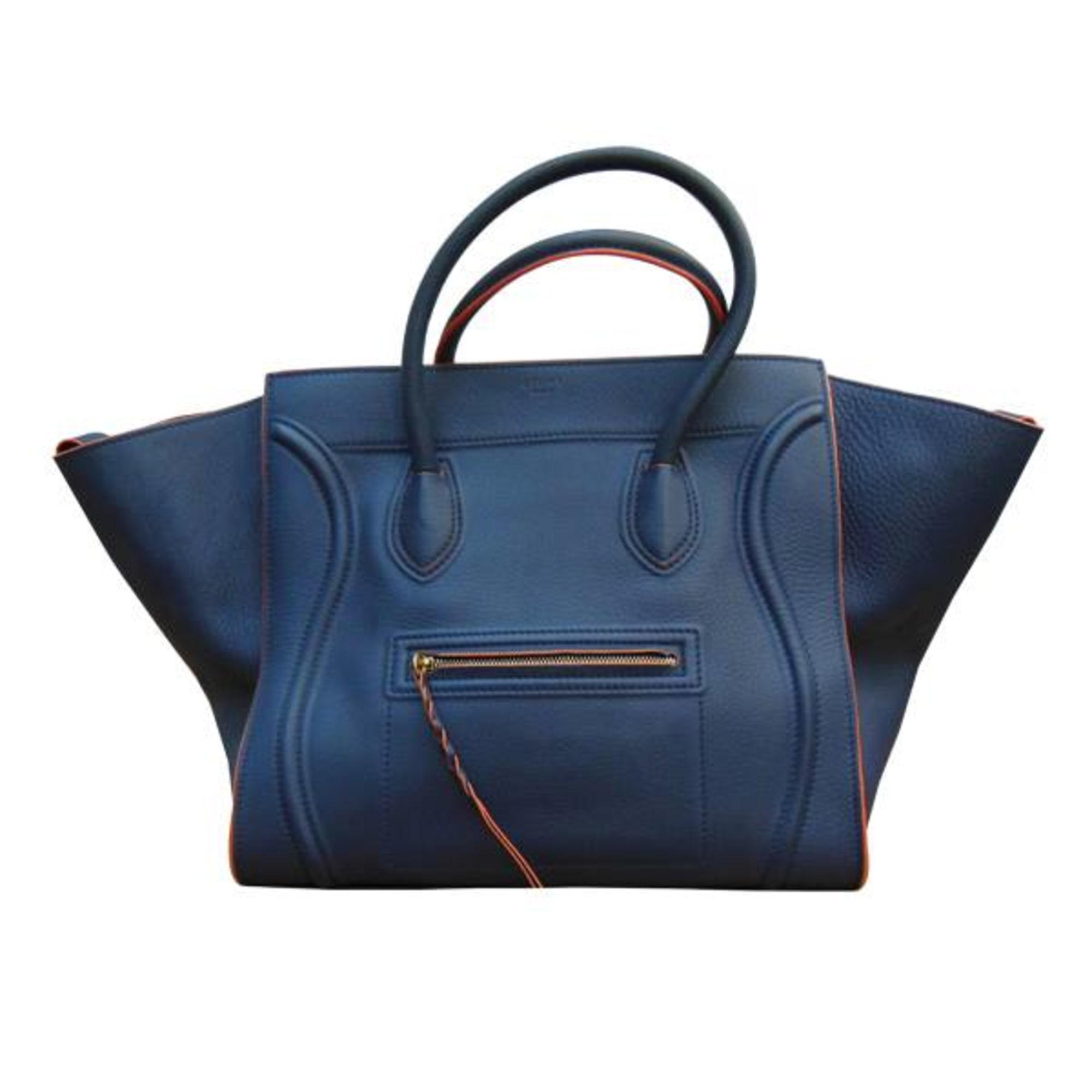 Céline Cuir En À Marine Sac Bleu Turquoise Main Bleu gqBS4gIn