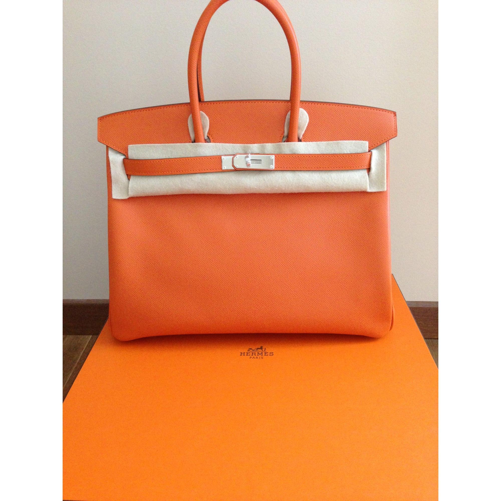 5bbc962389 Sac à main en cuir HERMÈS orange - 1523887