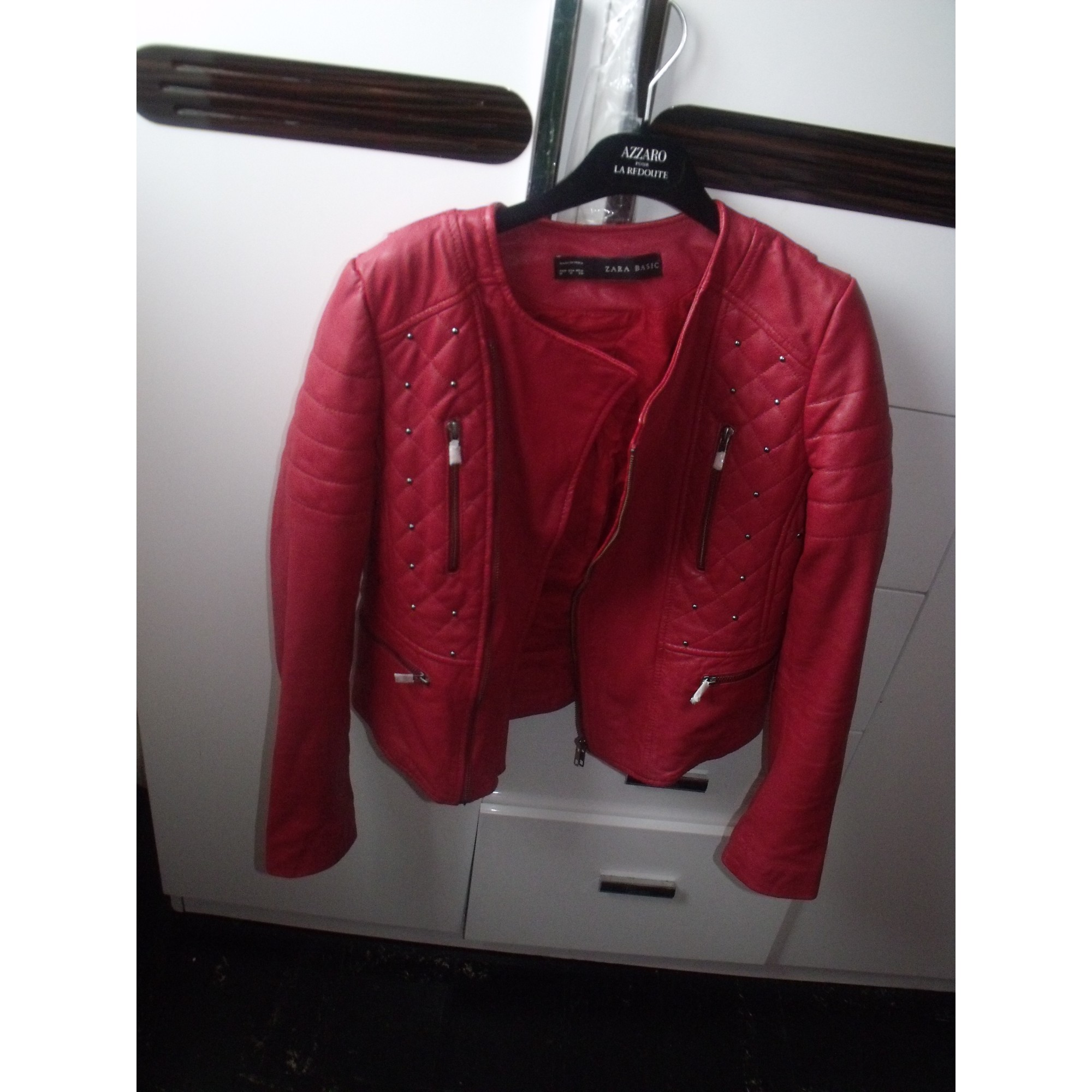 Zara blouson cuir rouge