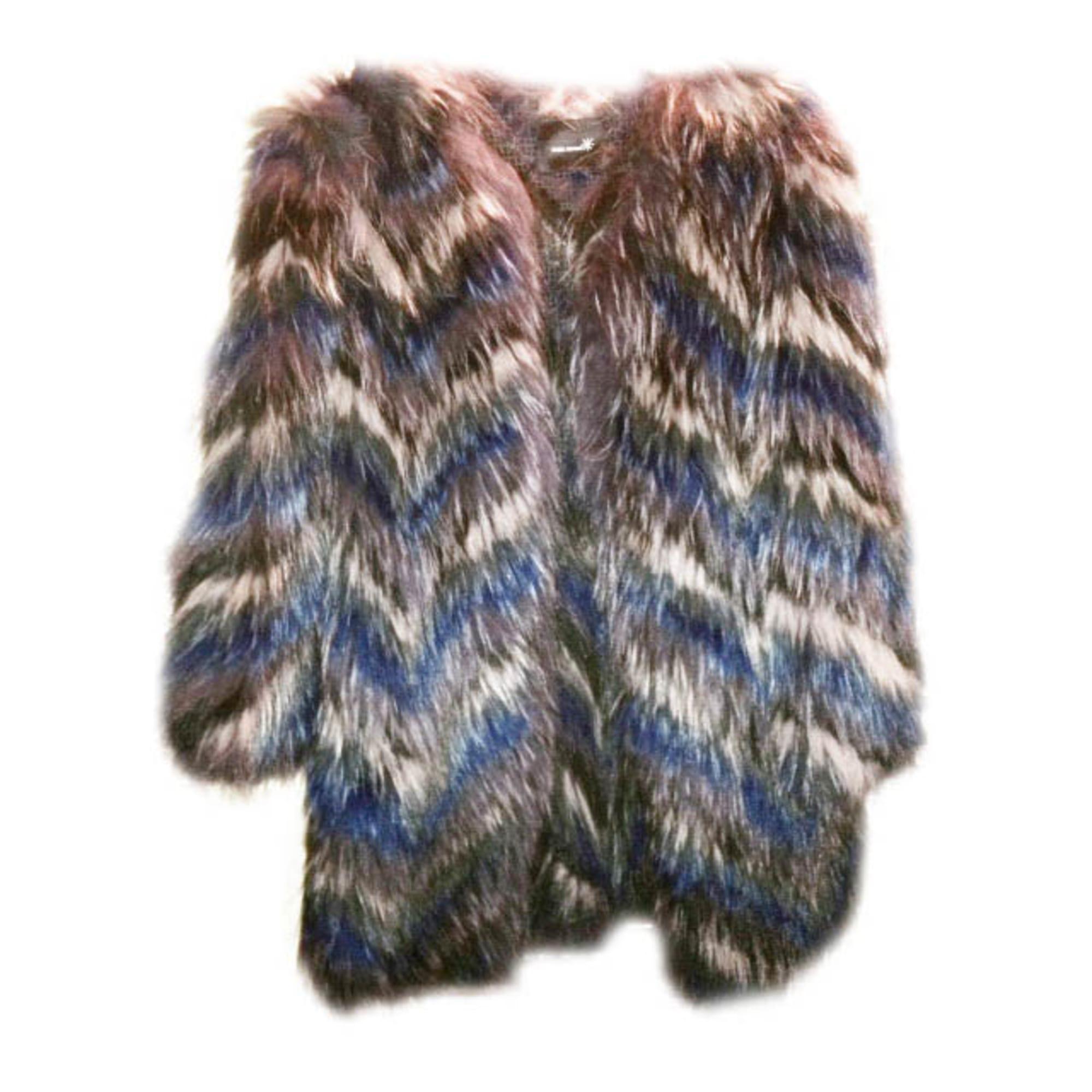 Manteau en fourrure ISABEL MARANT 38 (M, T2) bleu parme gris noir ... 7d91ba18b5b