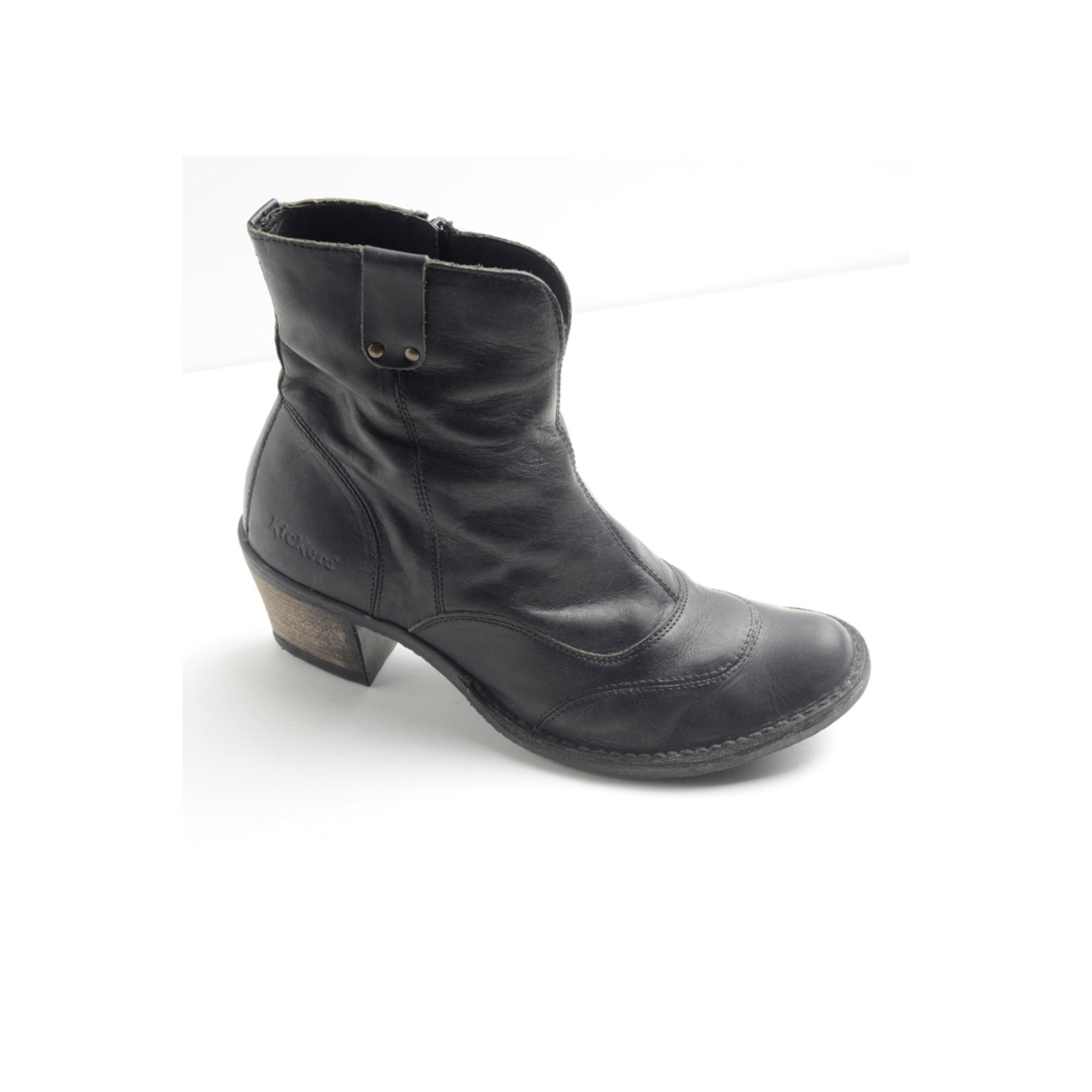 Bottines amp  low boots à talons KICKERS cuir marron 38 YpyGuER ... a575c99be4dc