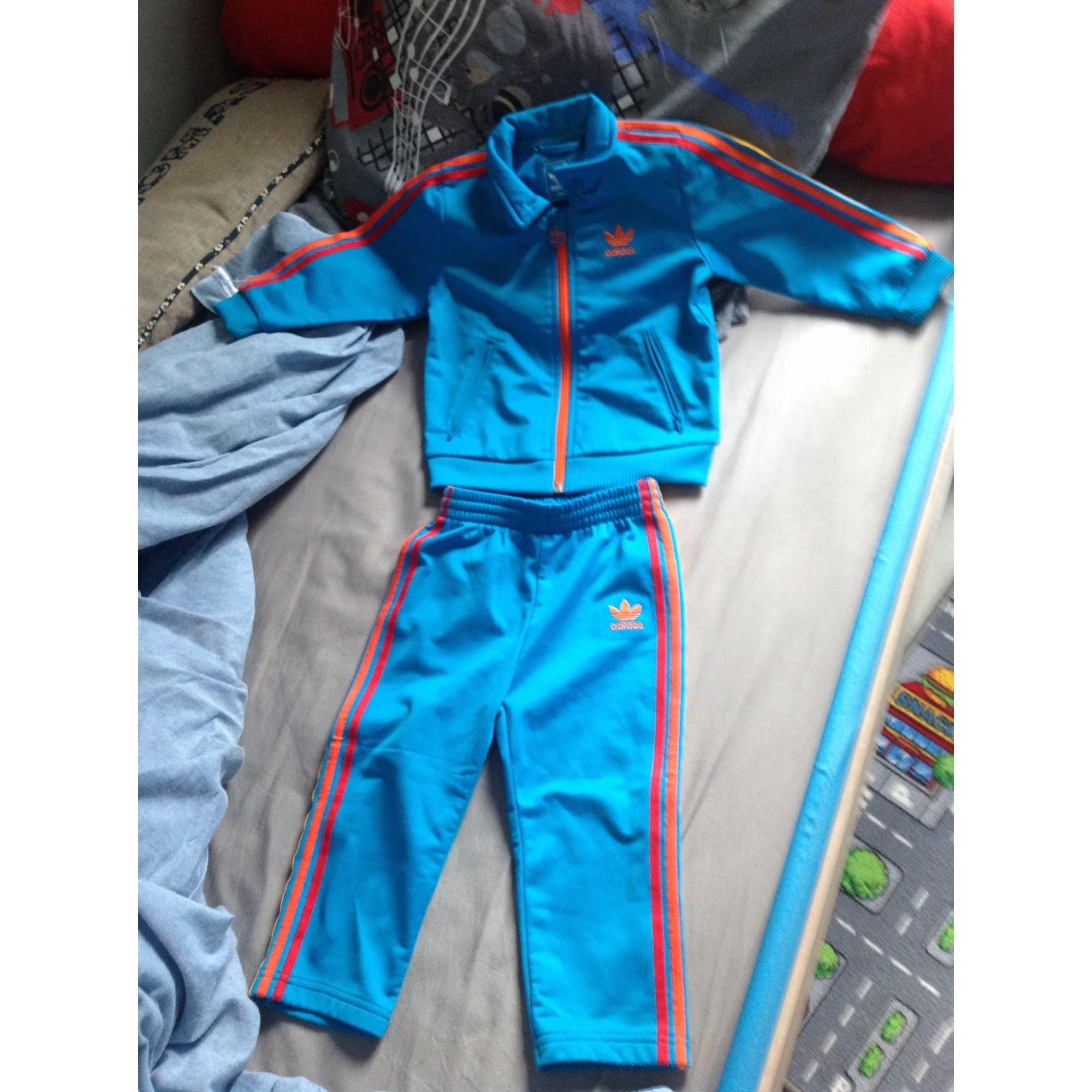 Ensemble jogging ADIDAS coton bleu 2 ans