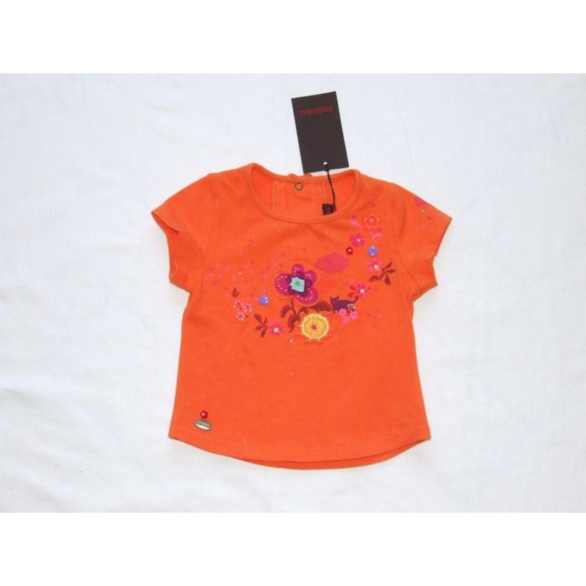 Top, tee shirt CATIMINI coton orange 12 mois