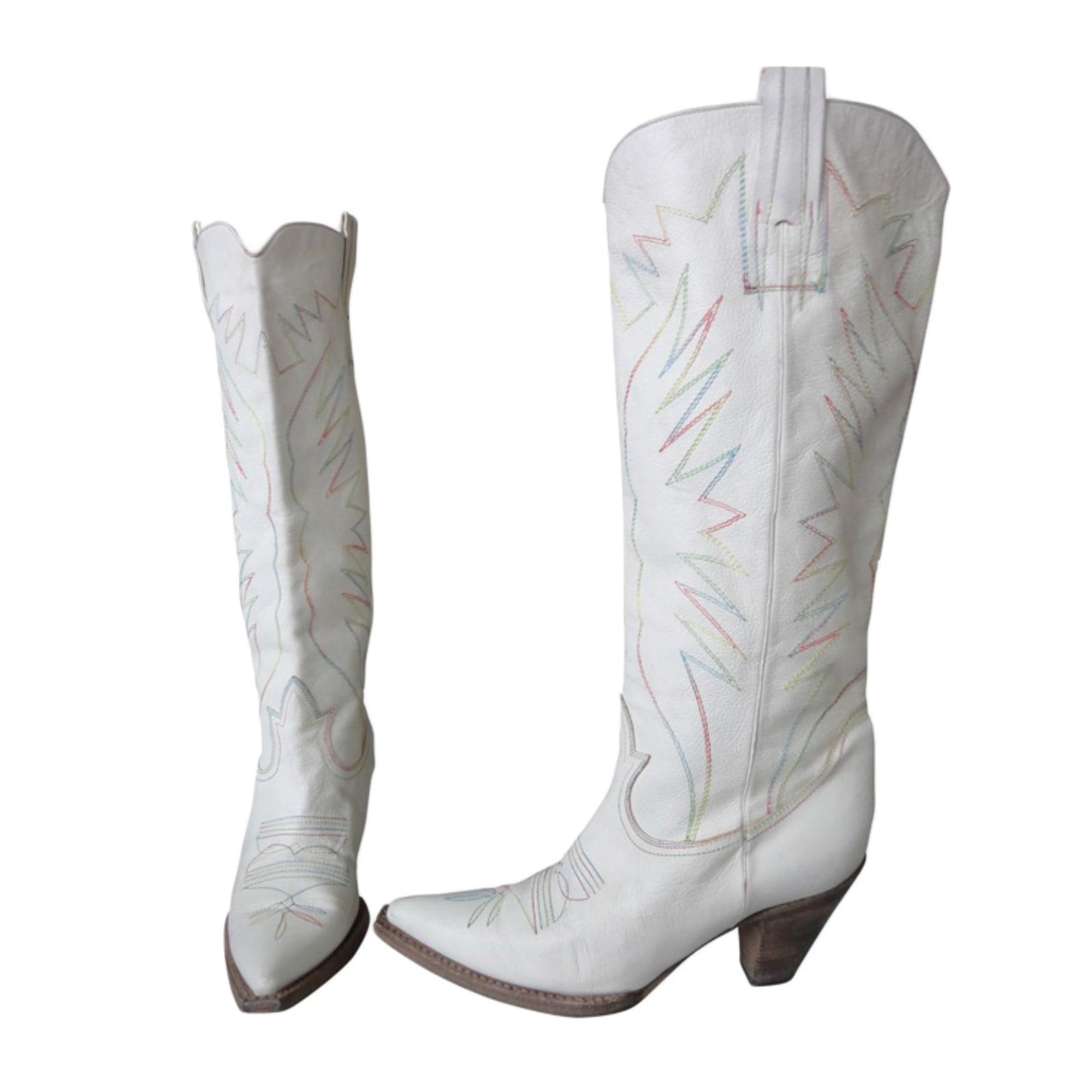 Santiags, bottes cowboy CHLOÉ Blanc, blanc cassé, écru