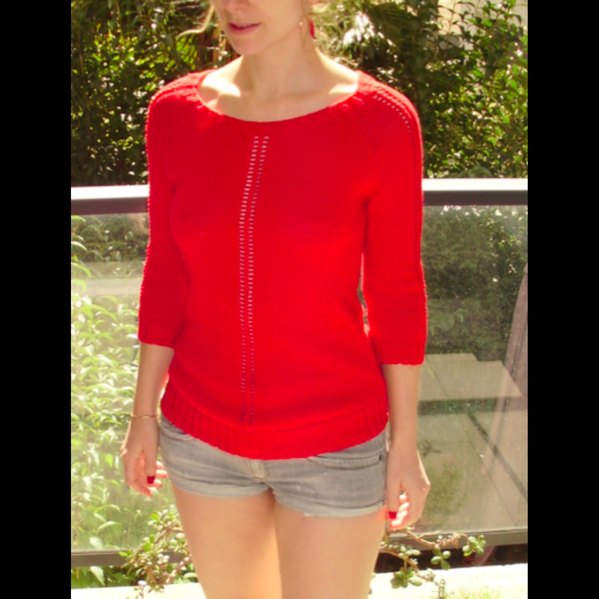 maje pull rouge transparent