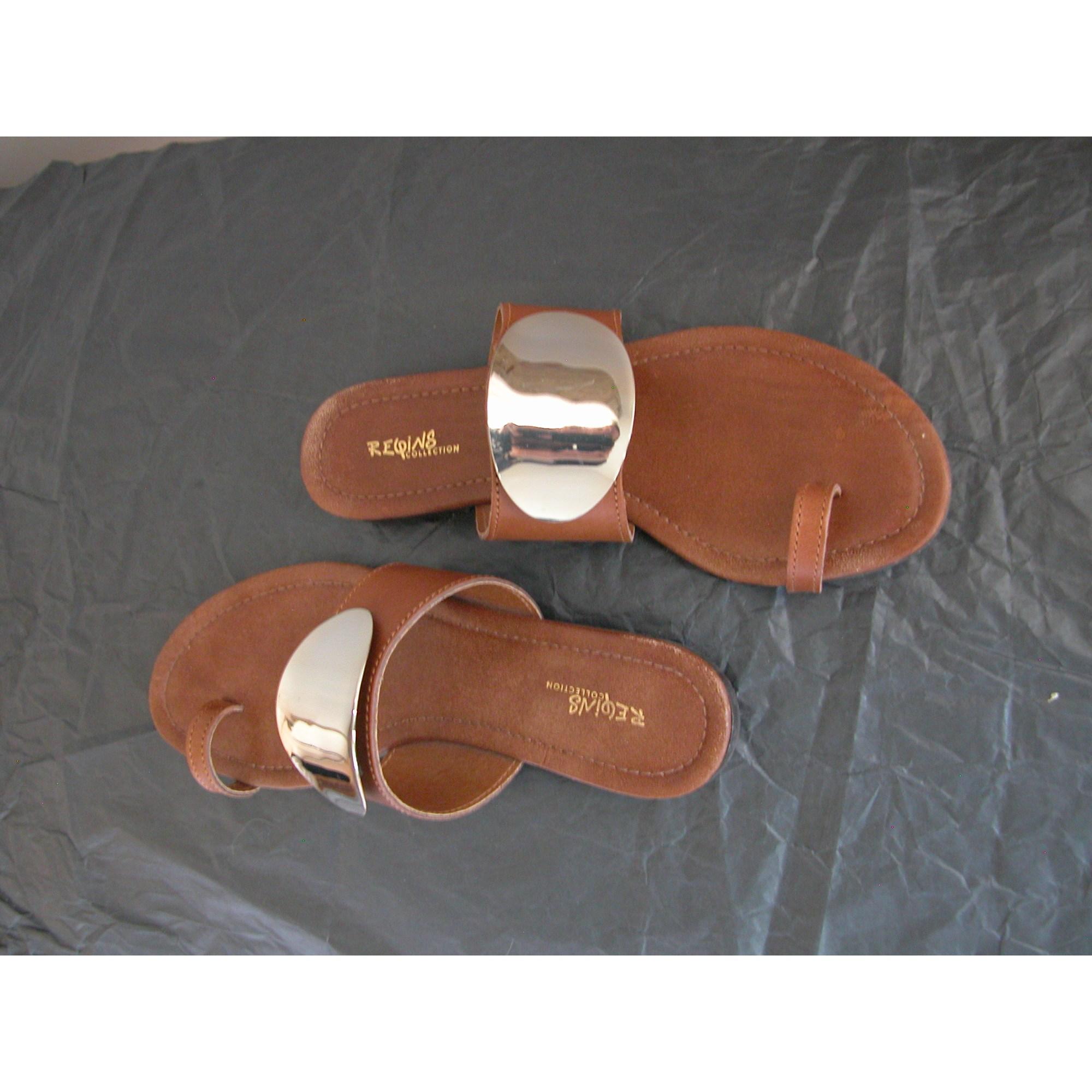 Sandales plates  REQINS Marron