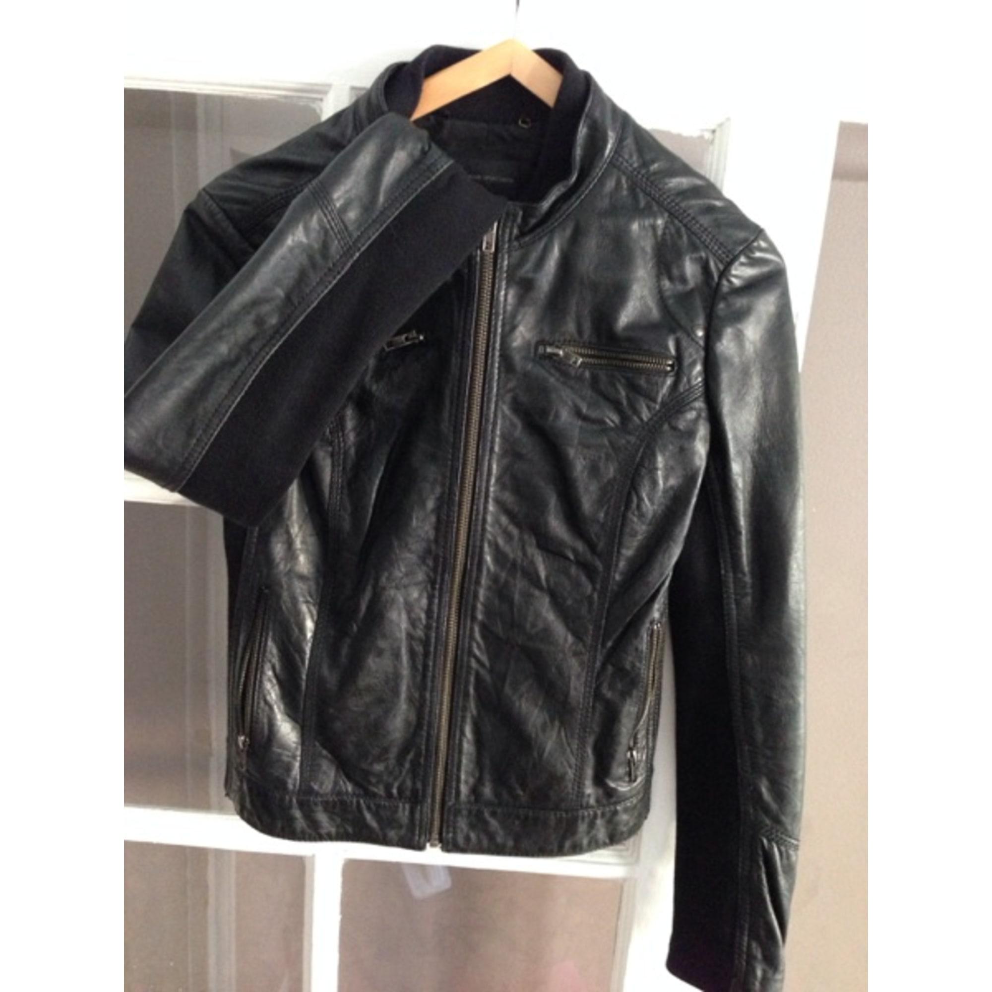 ff23dfdf1d7d0 Veste en cuir MANGO 36 (S, T1) noir vendu par Sabrina 363553046 ...