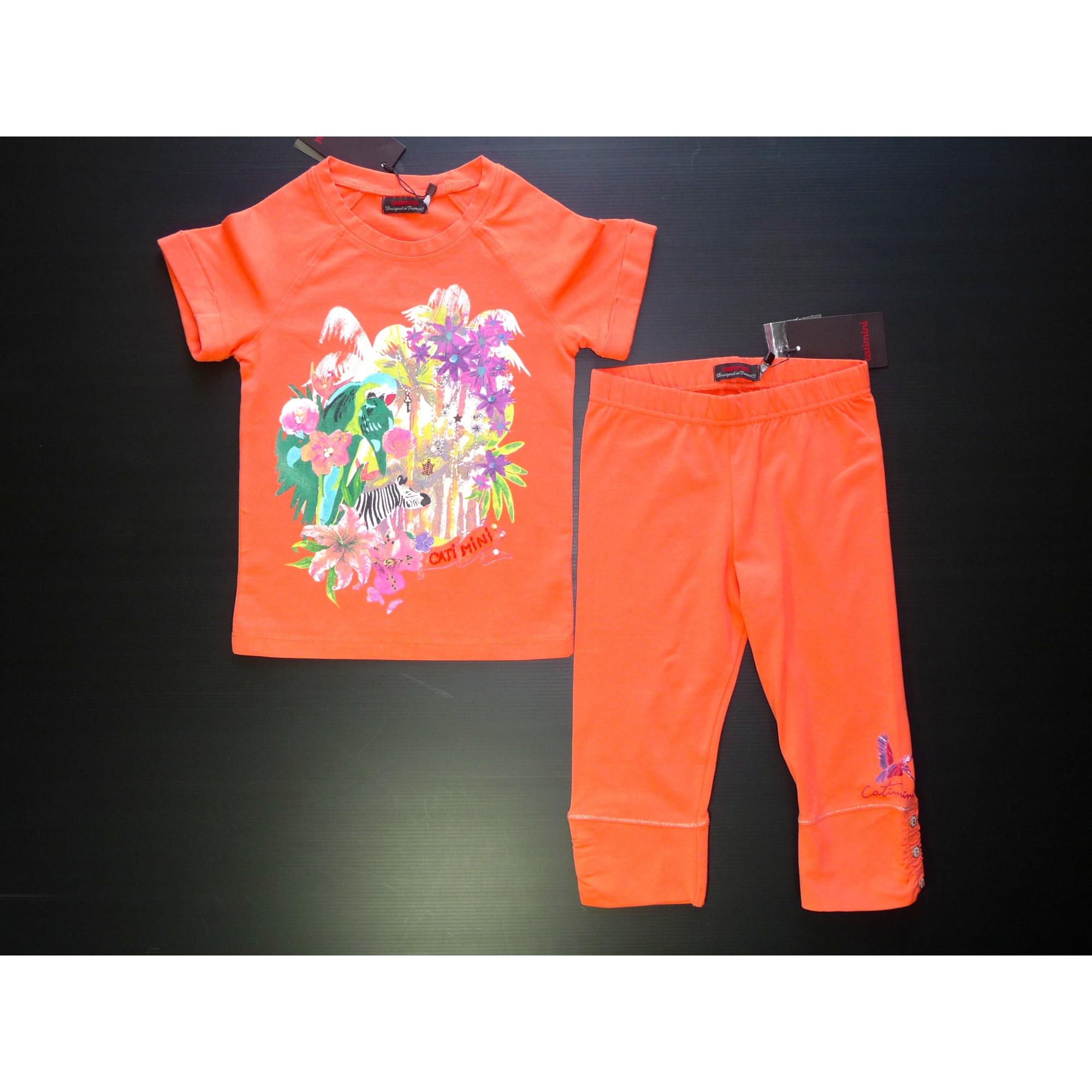 Top, Tee-shirt CATIMINI coton orange 5-6 ans