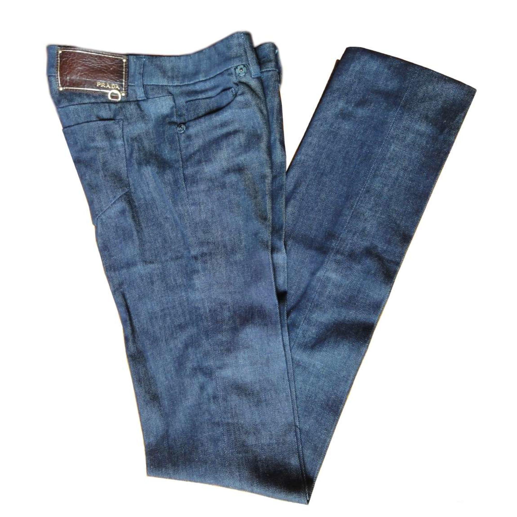 Jeans droit PRADA Bleu, bleu marine, bleu turquoise