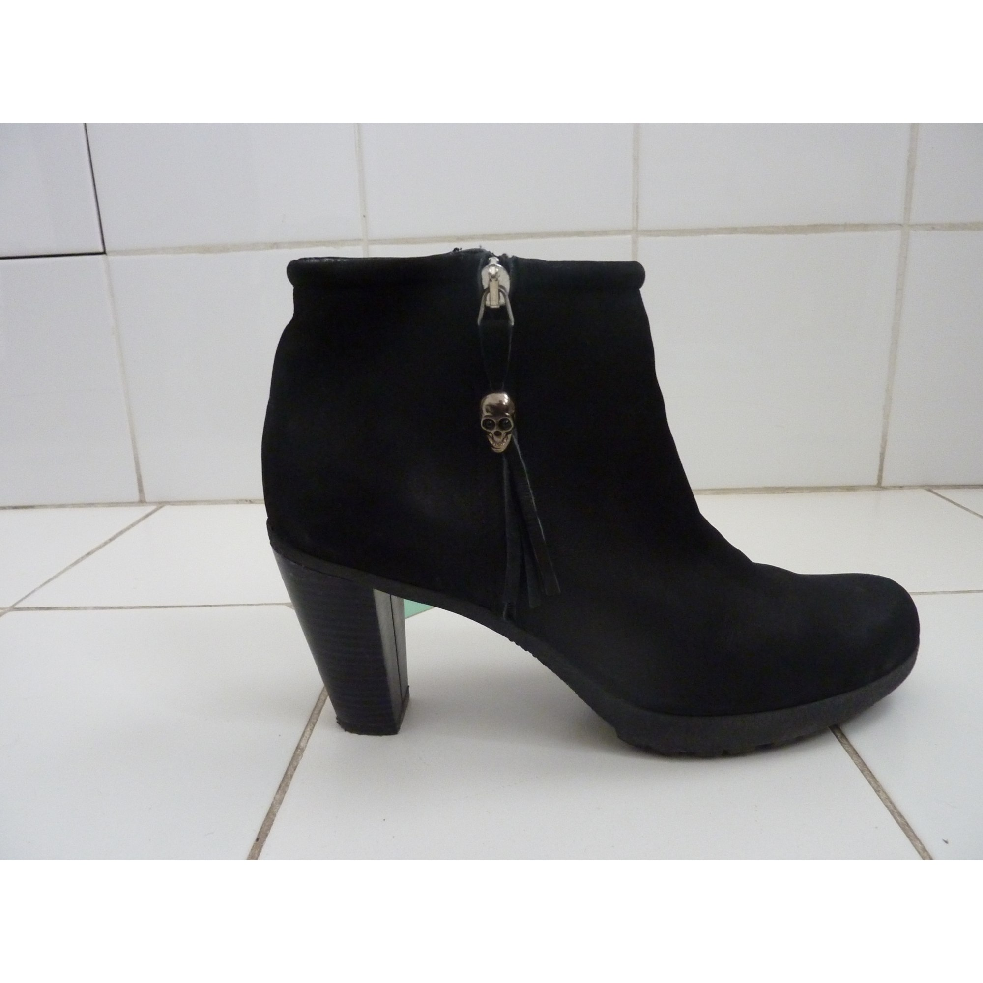 Bottines & low boots à talons REQINS cuir noir 39