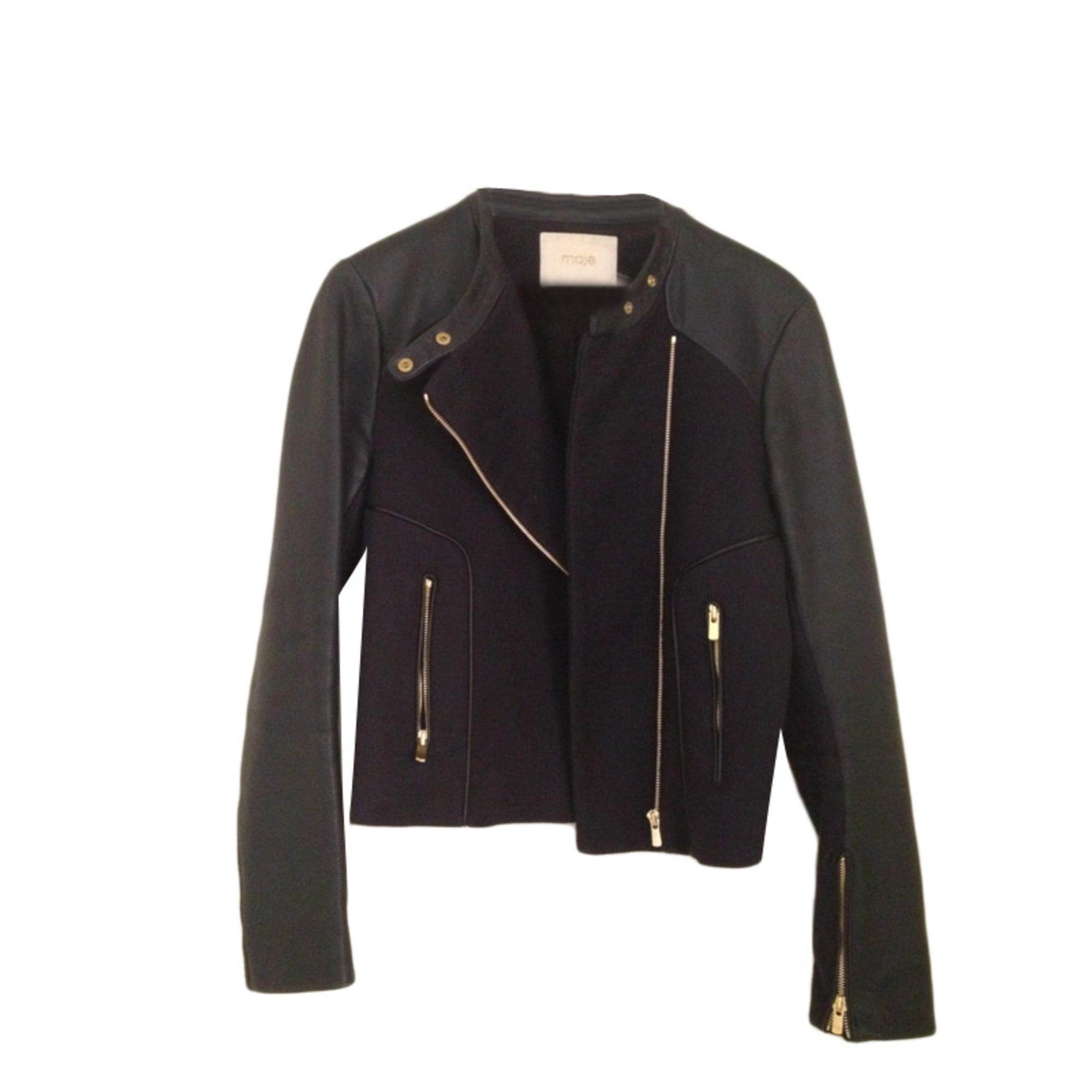 Maje Manteau coton/lin et cuir 40 (L, T3)